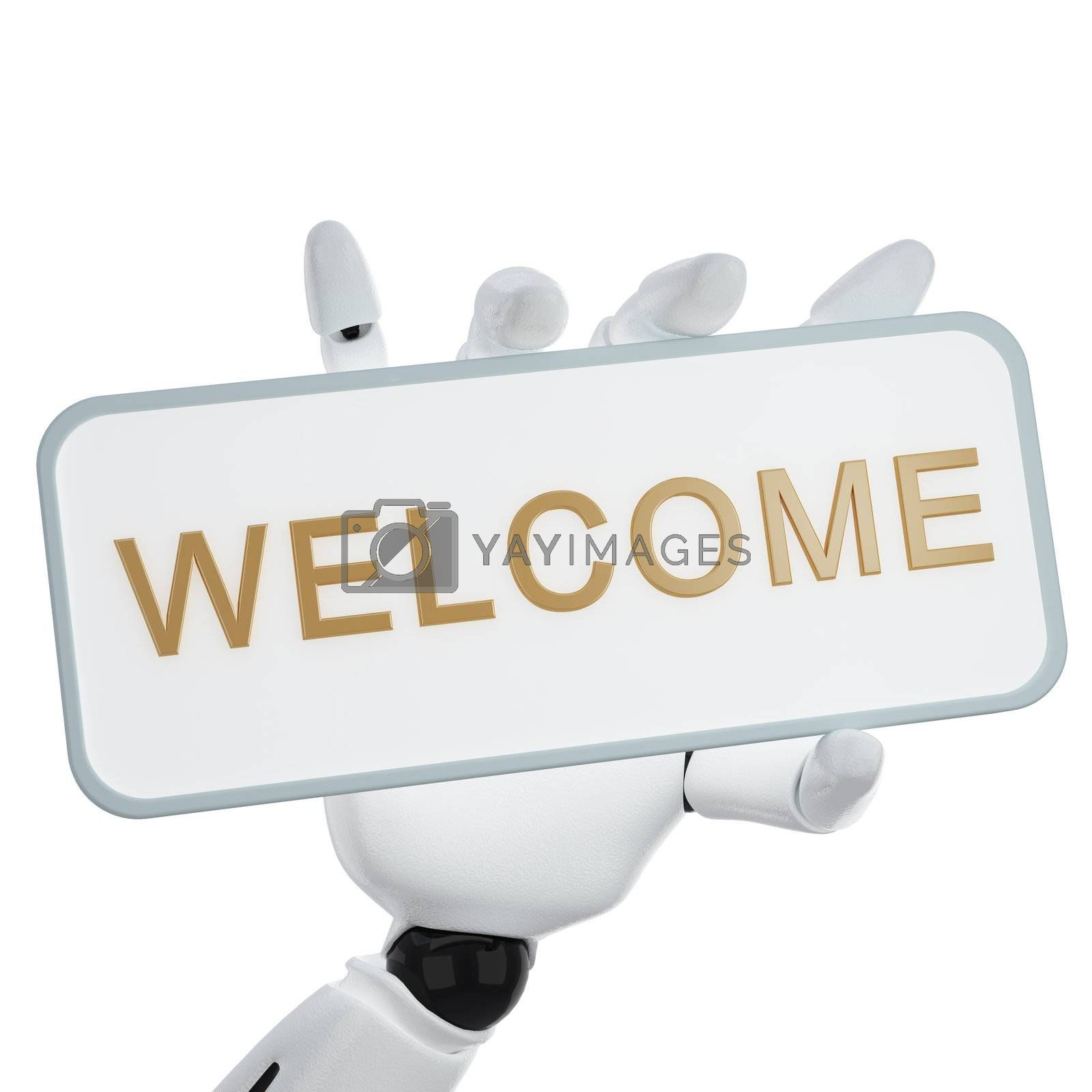 """A 3d robotic hand hold a plate with word """"welcome"""""""