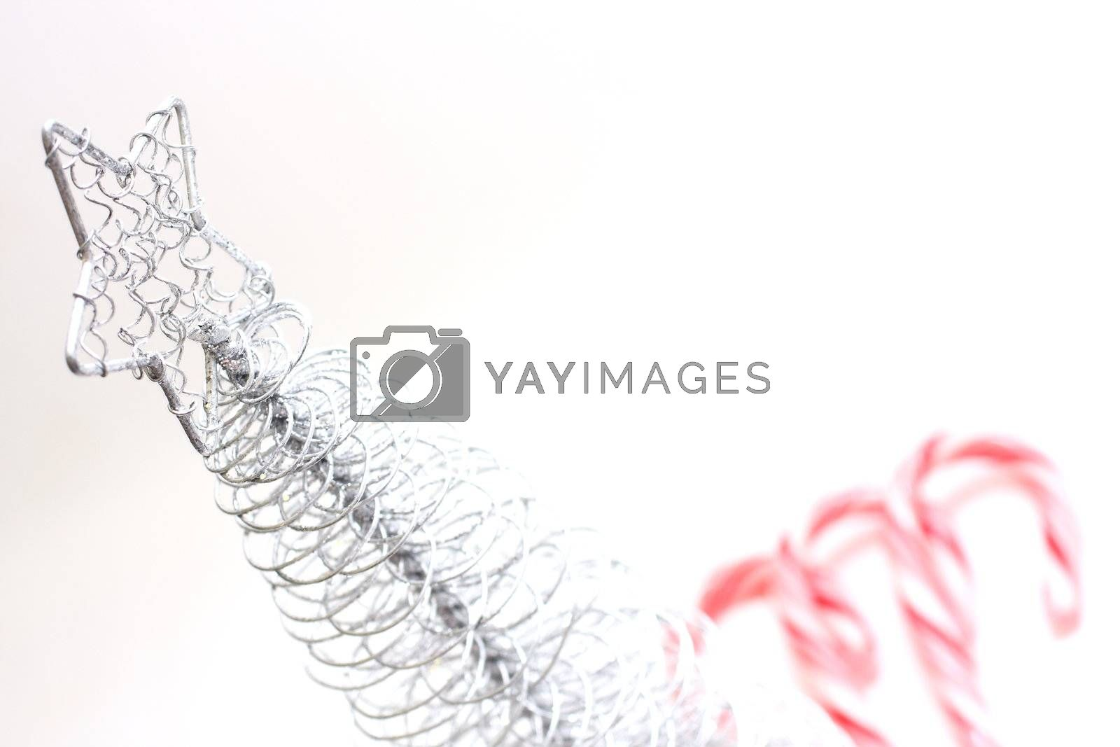 Christmas Tree and candy canes on white background.