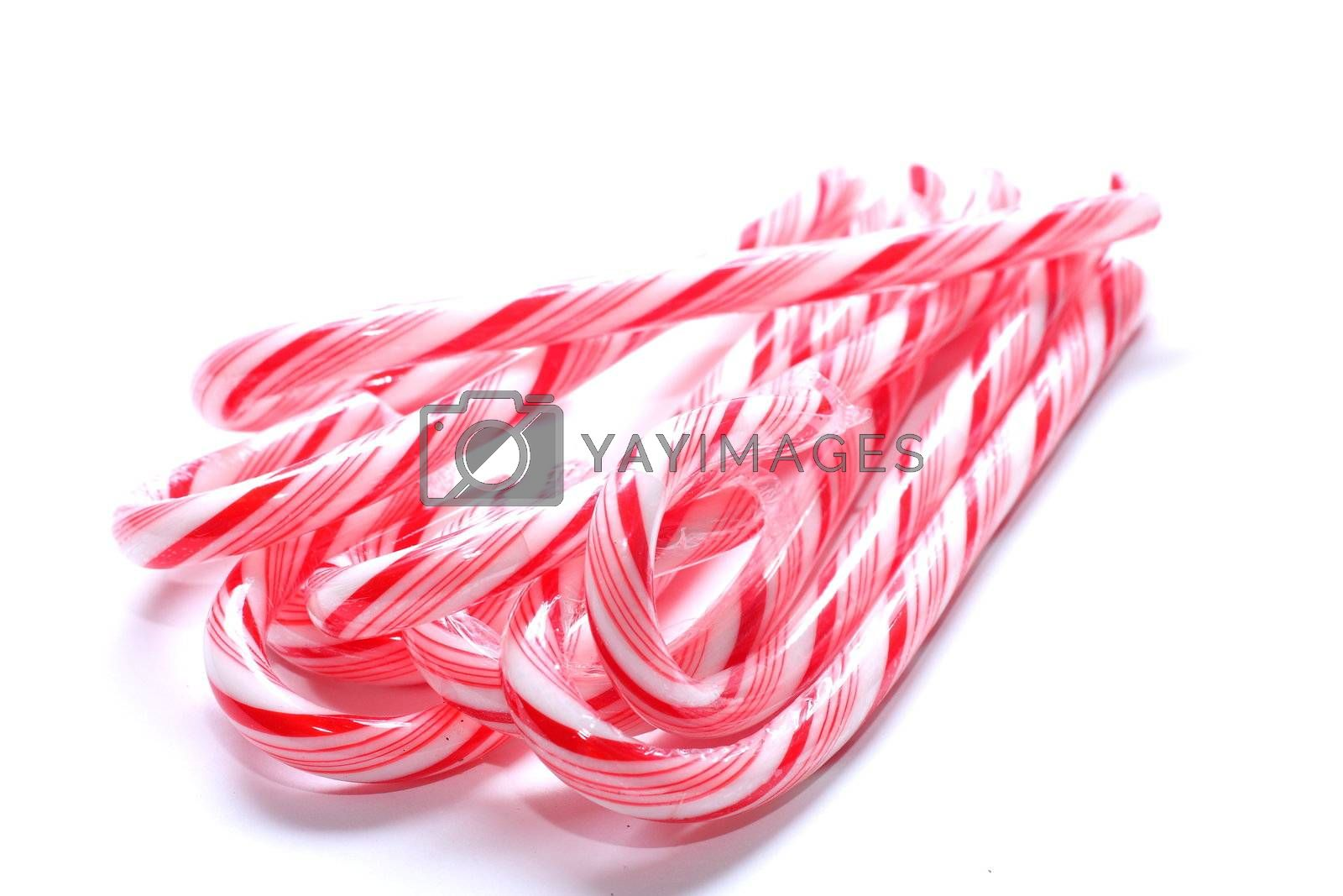 isolated shot of candy canes in a bundle on white background