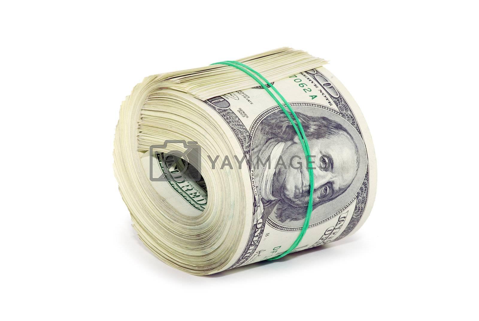 lot of money isolated on white background