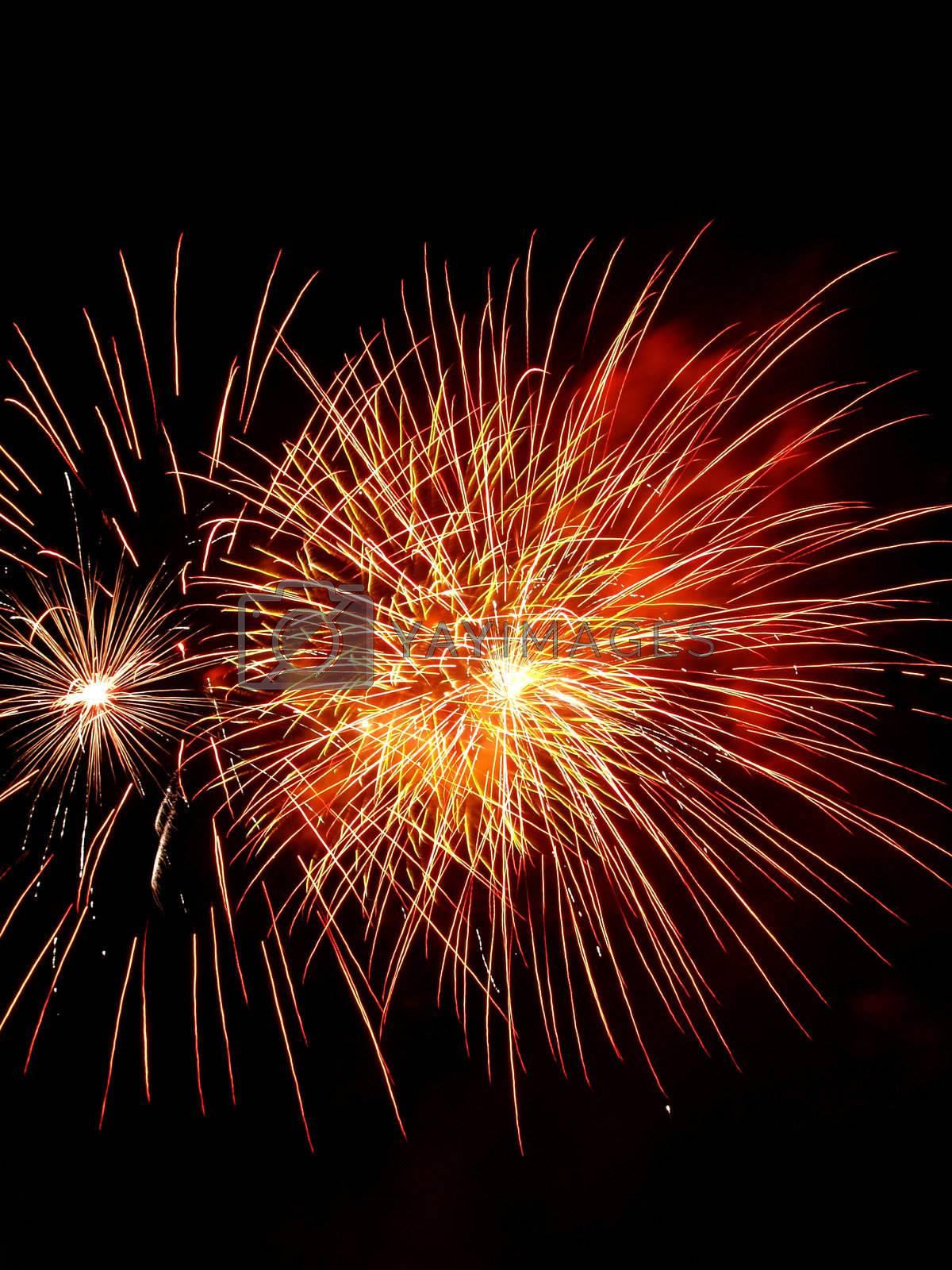 Long Exposure of Fireworks Against a Black Sky