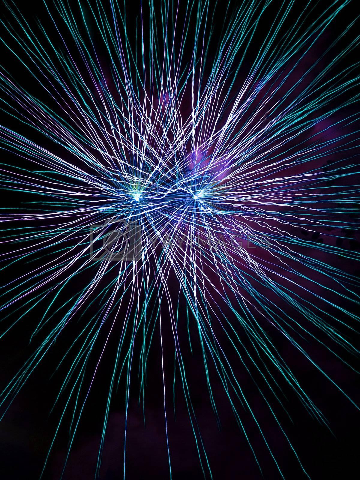 Long Exposure of Purple Fireworks Against a Black Sky