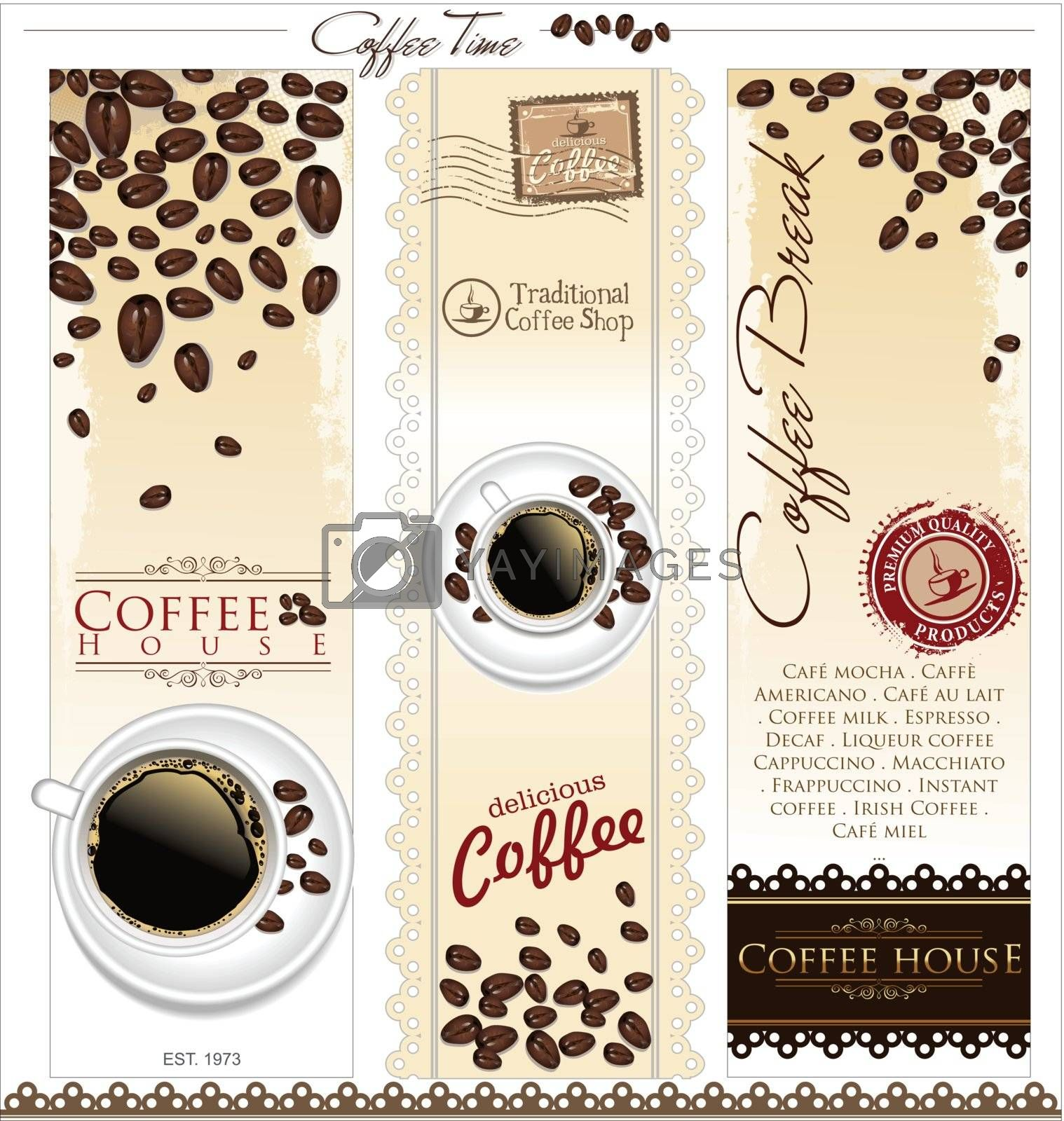 Vector with a set of coffee elements