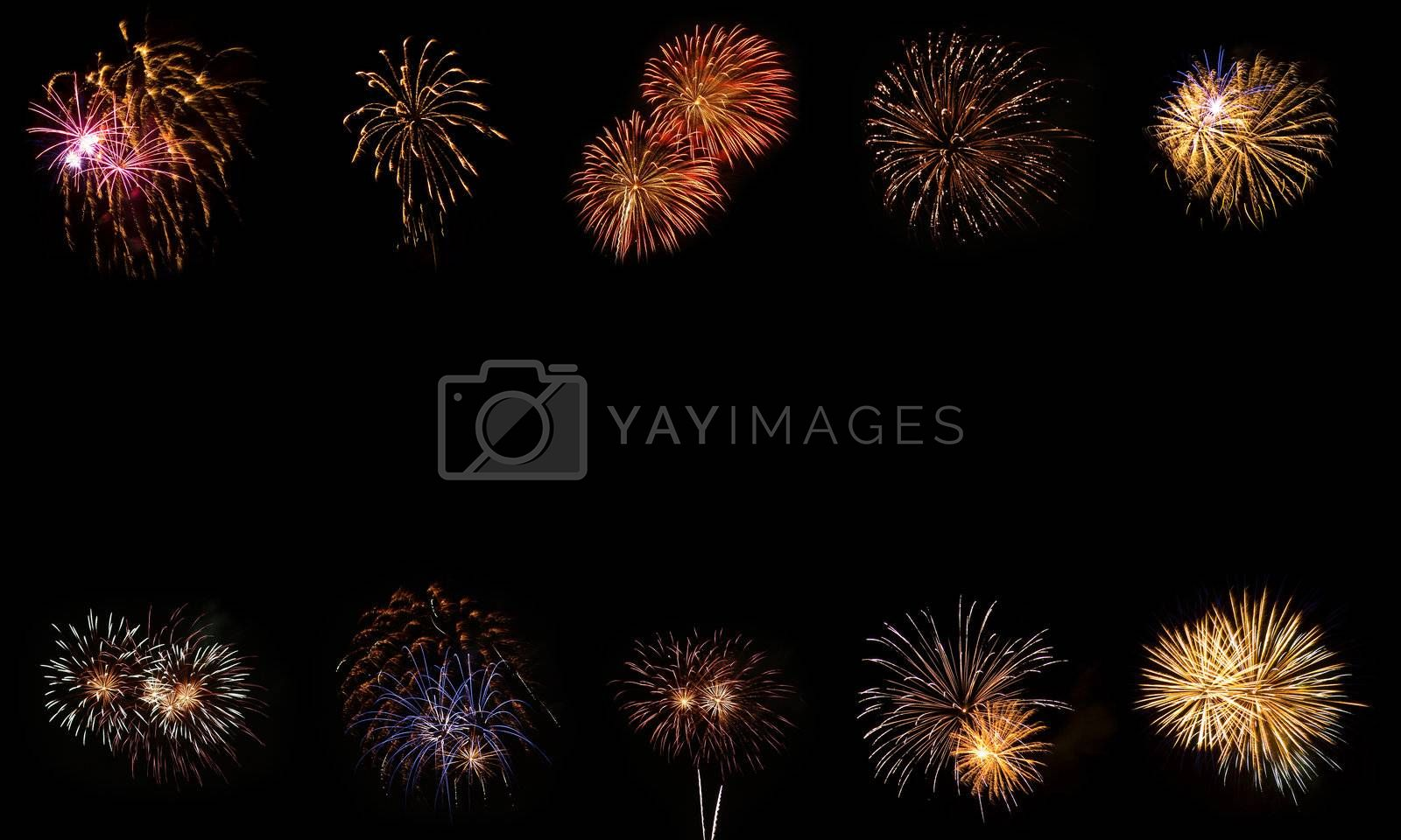 Long Exposure of Fireworks Frame Against a Black Sky