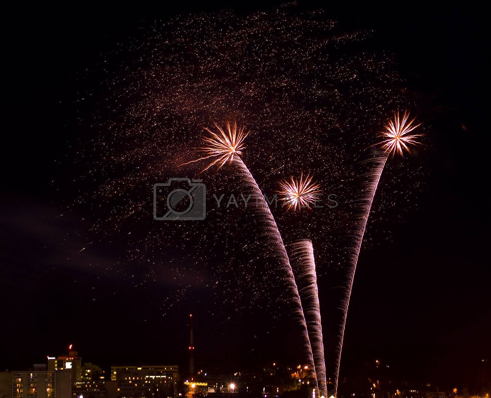 Fireworks Against the Night Sky of a Cityscape
