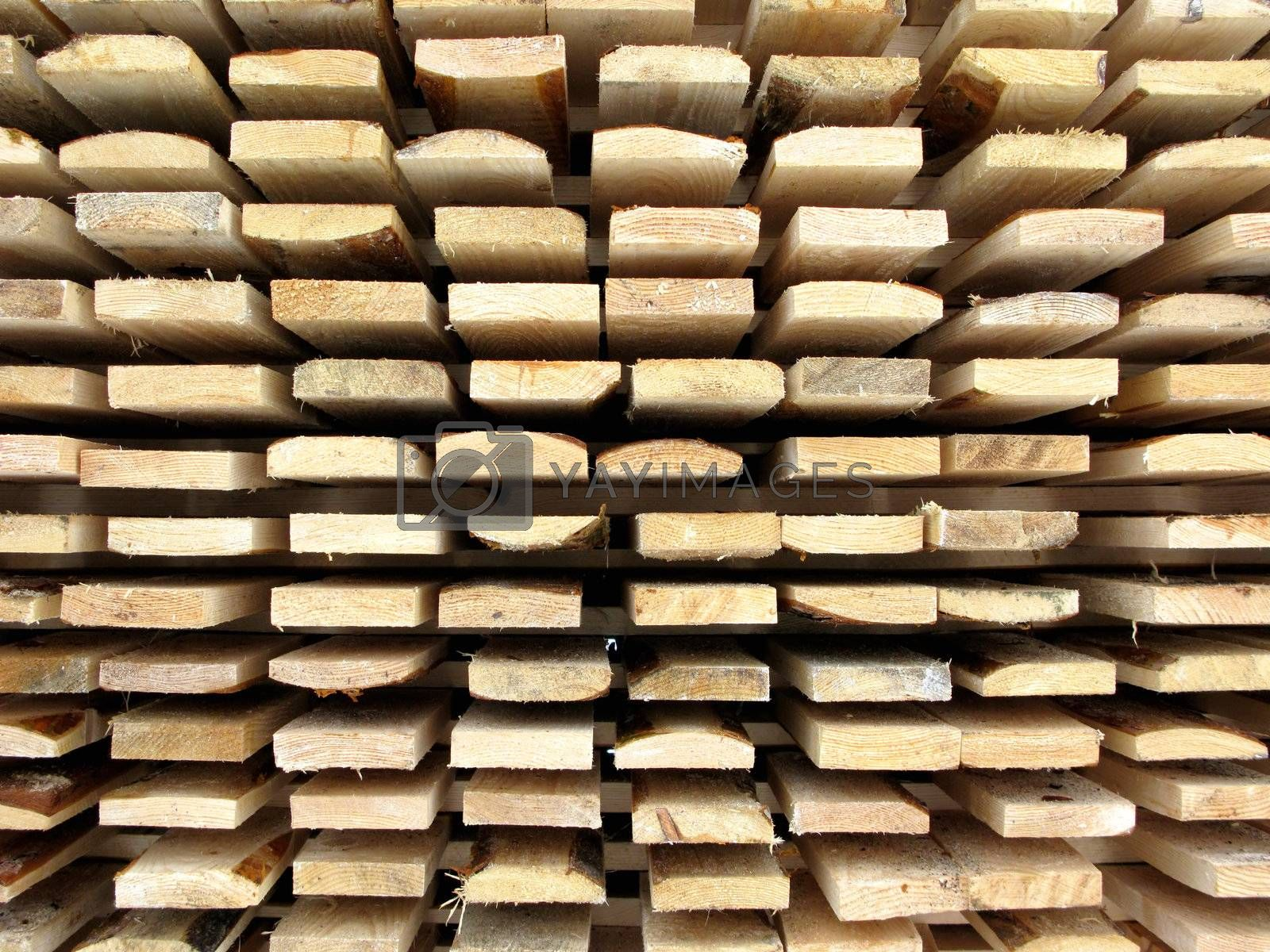 Stack of new wooden boards
