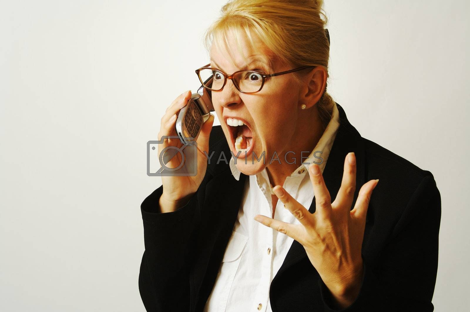 Angry Business Woman on Cell Phone by Feverpitched