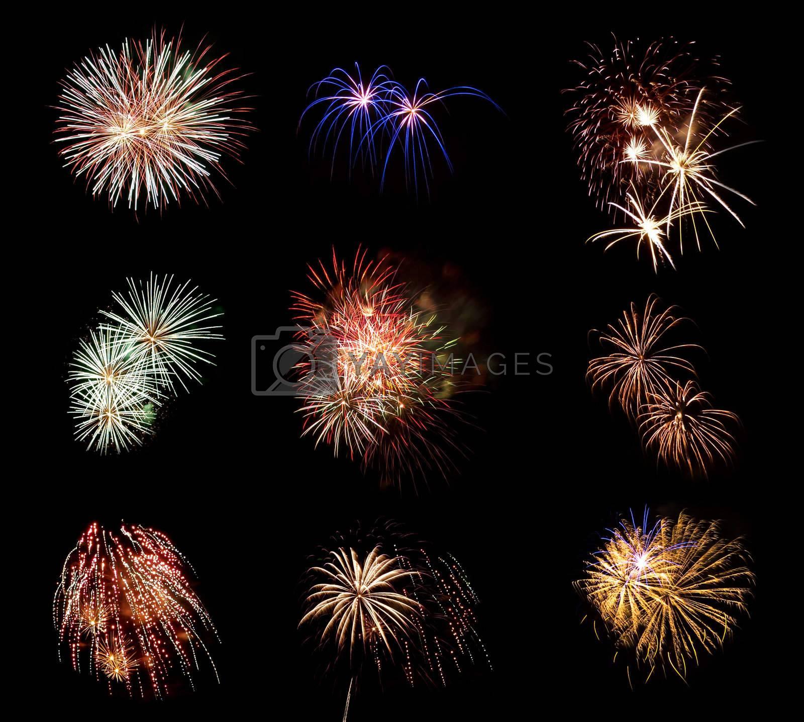 Compilation of Fireworks Against a Black Sky