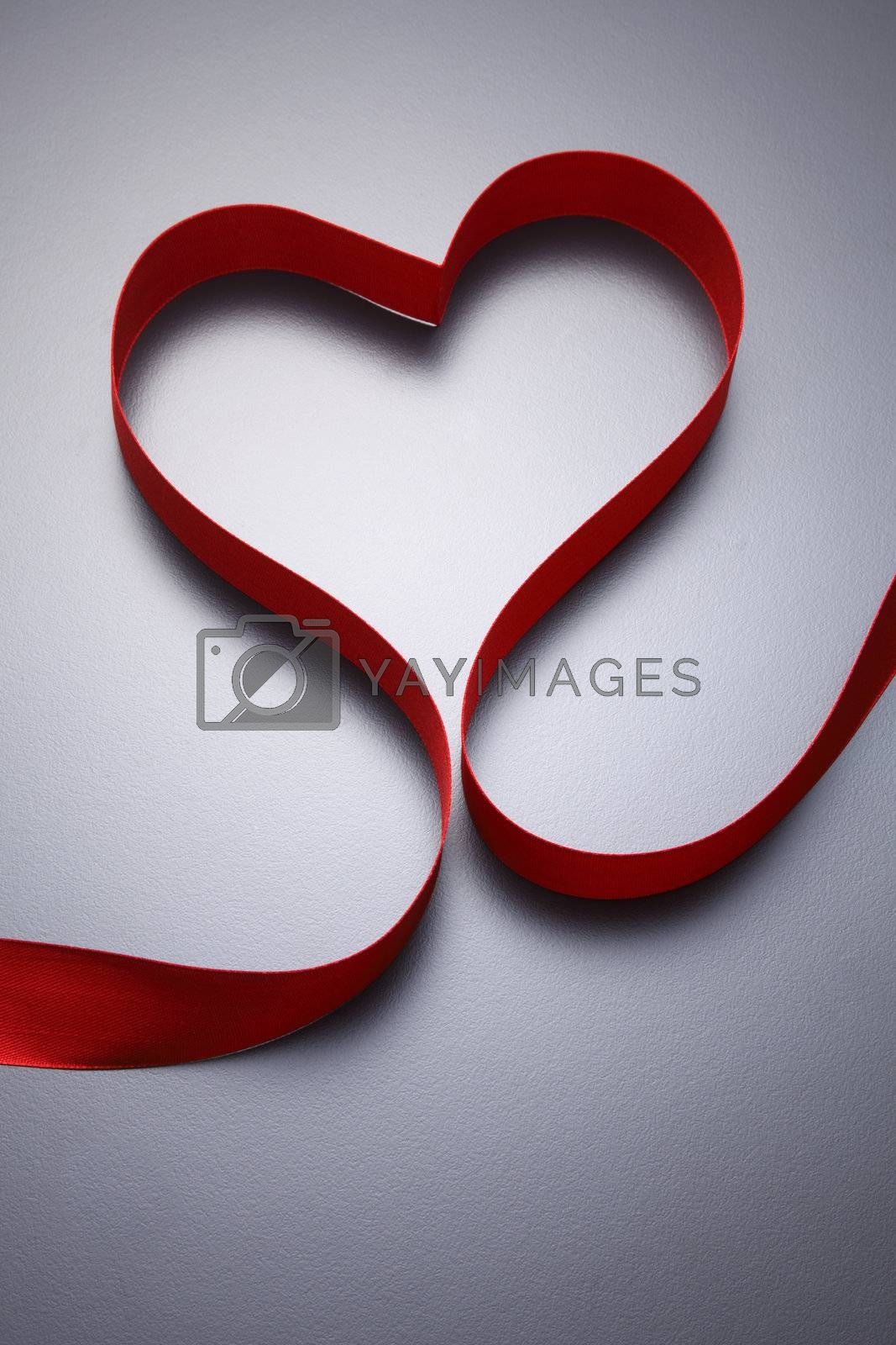 stock images of Heart shape made  from ribbon