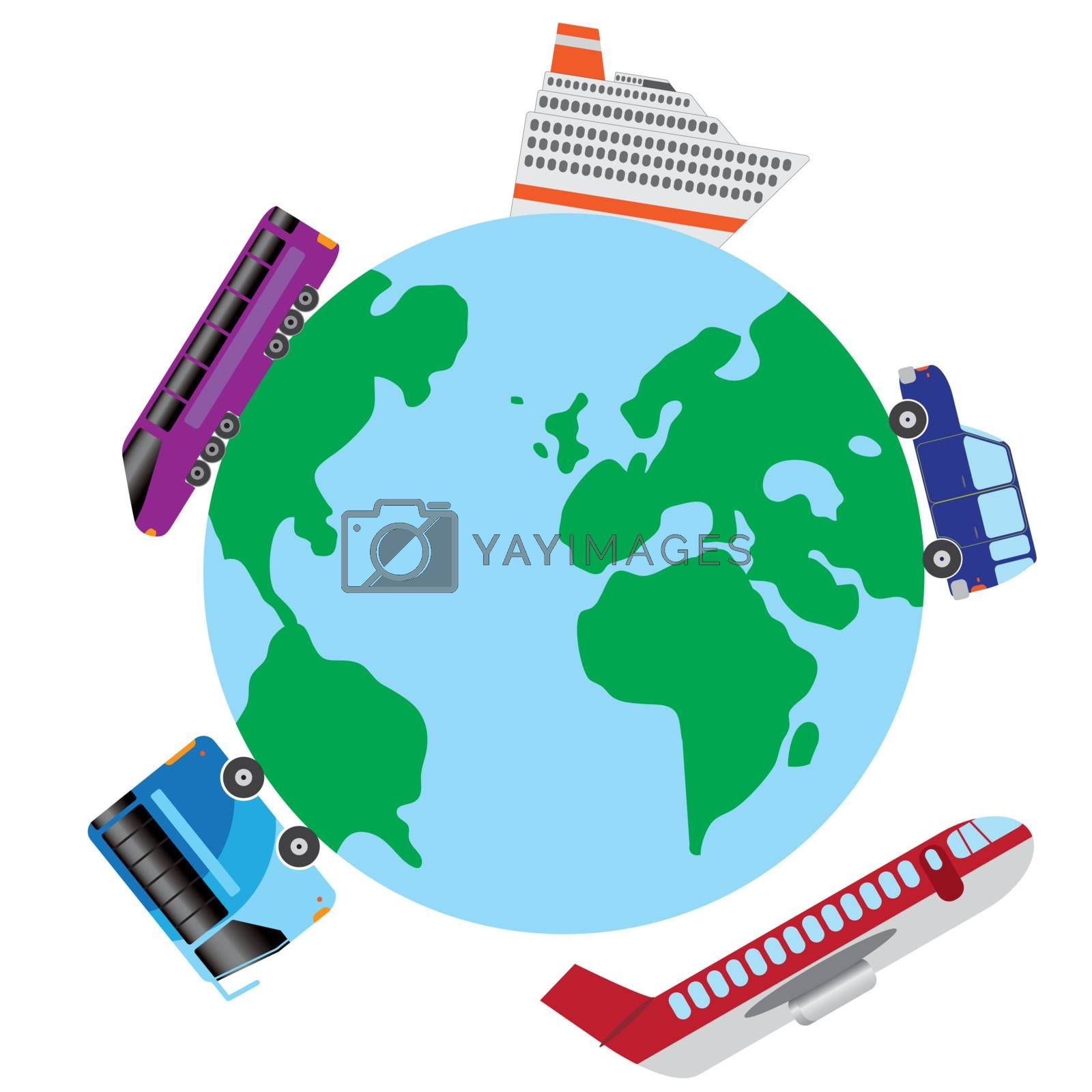 Transport vehicles around the world on the white background.