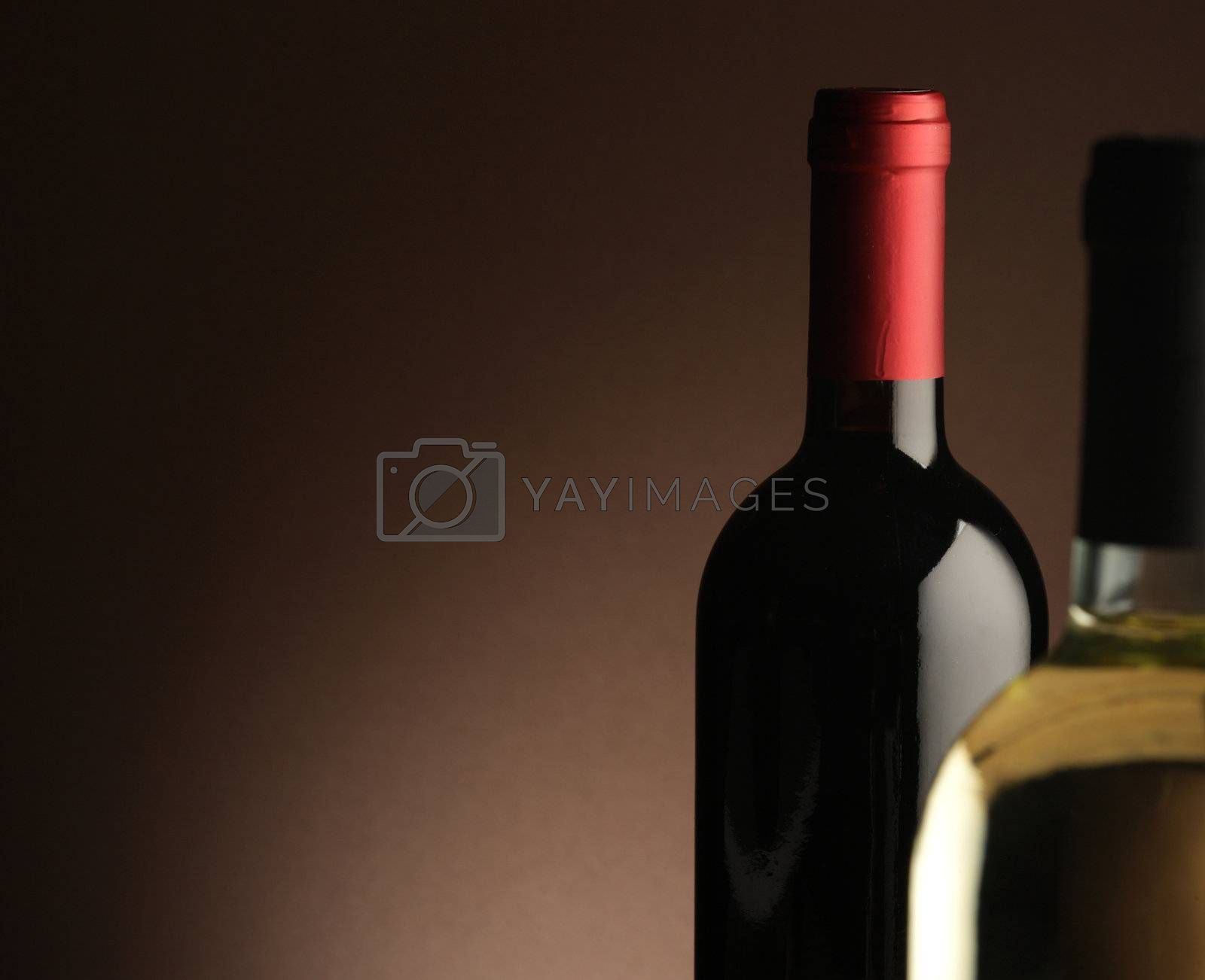 red wine and white wine bottle