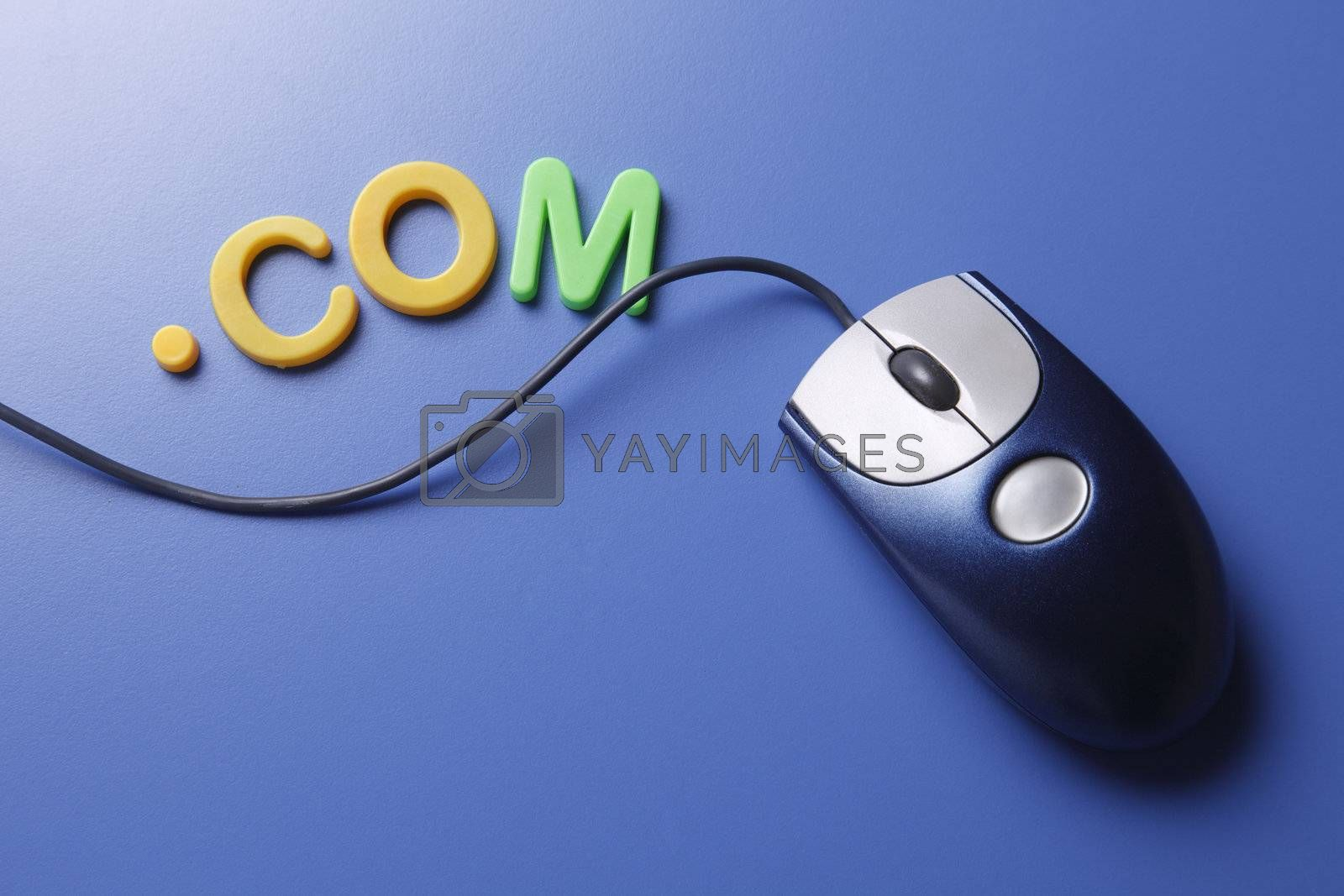 Mouse with magnetic letters isolated on the blue background.