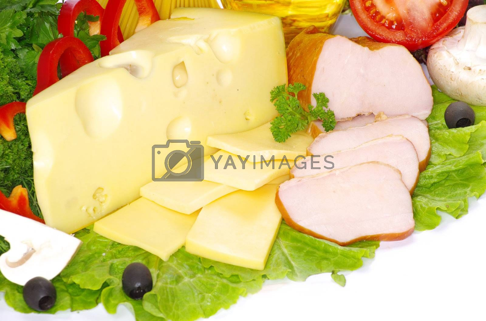 food  bacon with herb parsley isolated on white