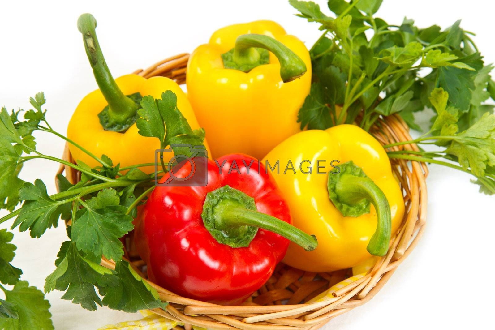 pepper in basket on white background