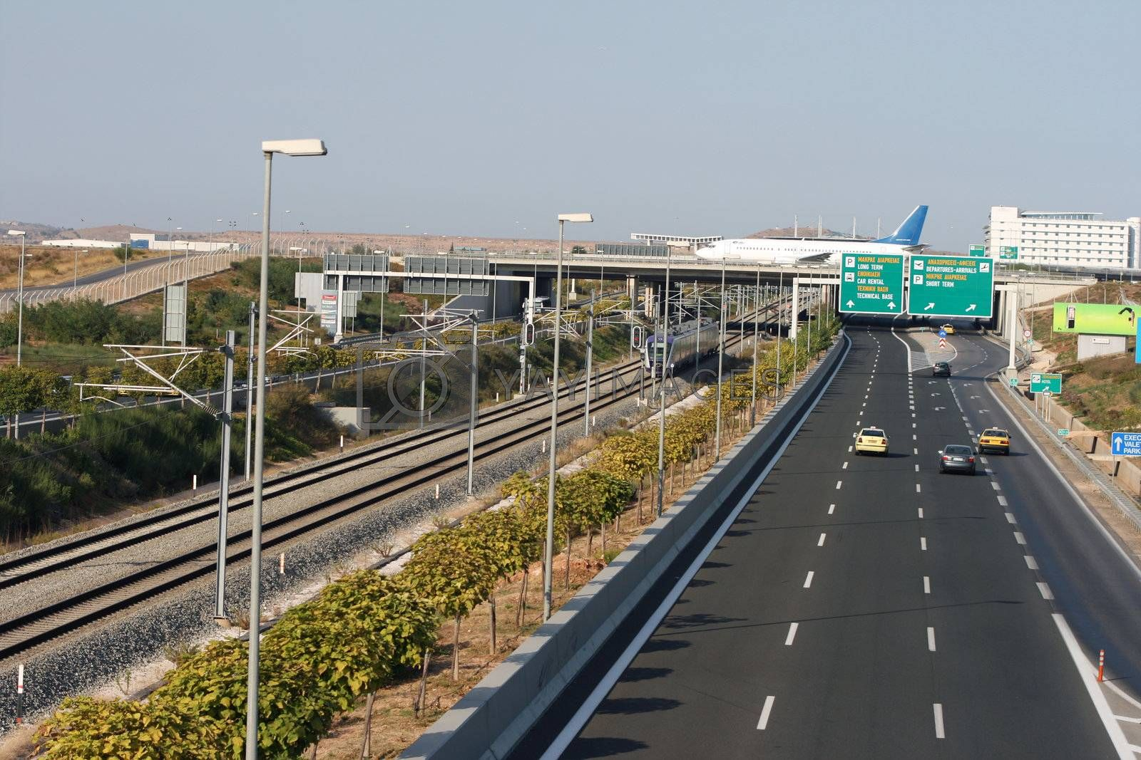 transportations car trains and airplanes from athens international airport