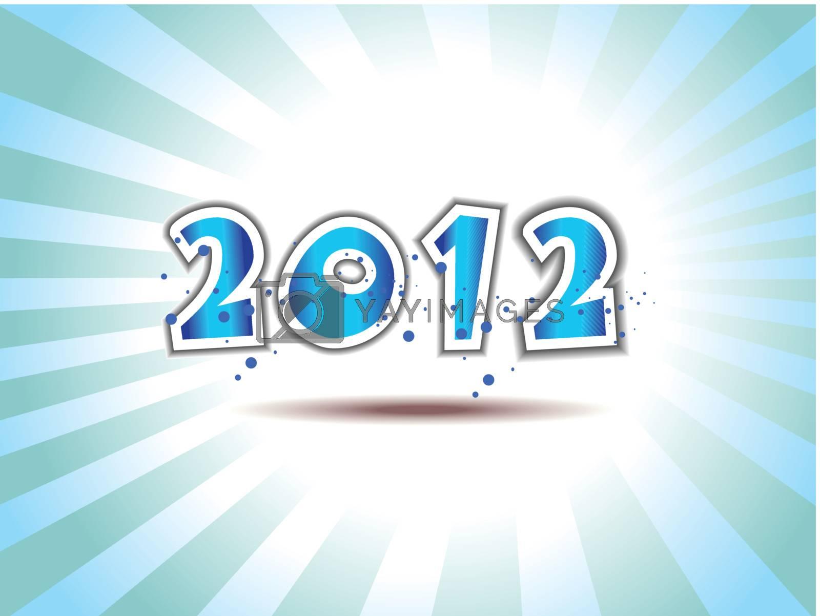 Happy new year 2012  message applique vector design with blue presentation & violet dots.