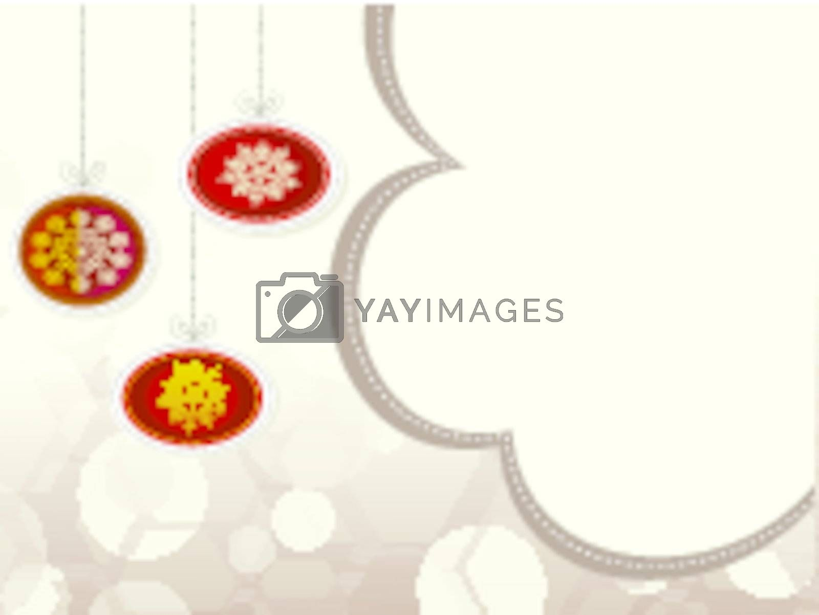 Christmas hanging ornaments with space for text.vector