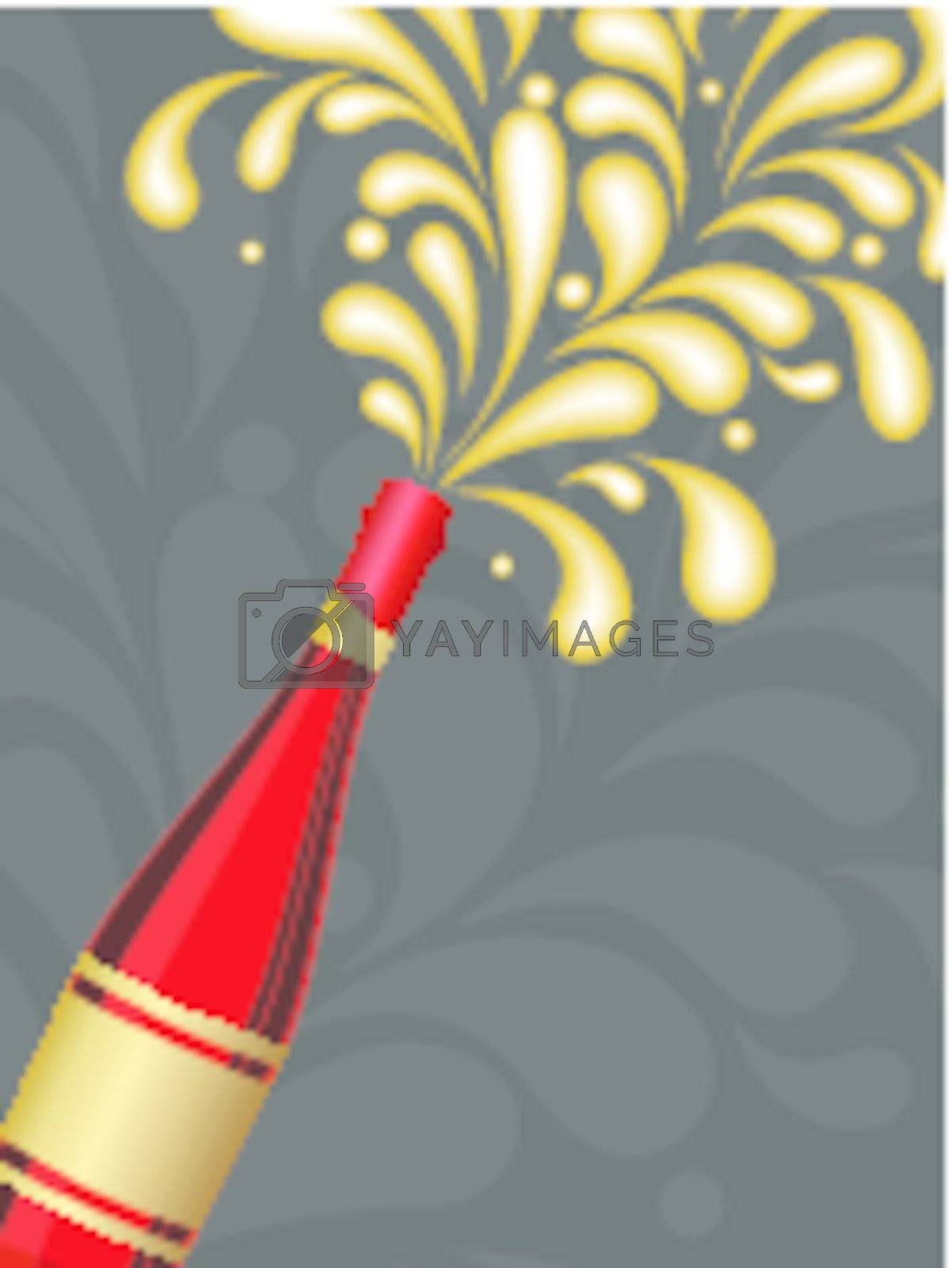 creative artwork background with champagne explosion vector for celebration