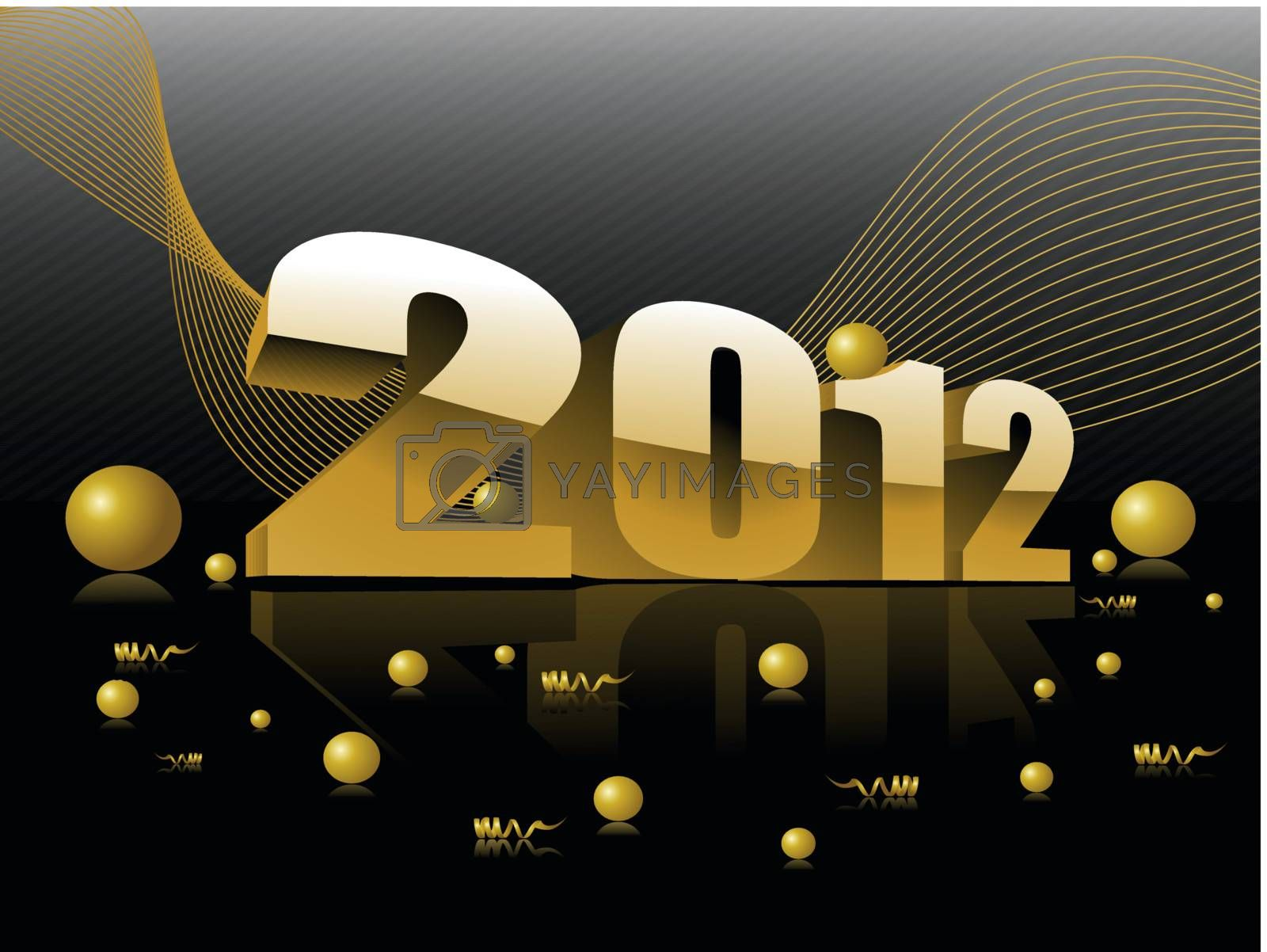abstract mustard wave background with 3d effect 2012 with glossy balls vector for new year celebration