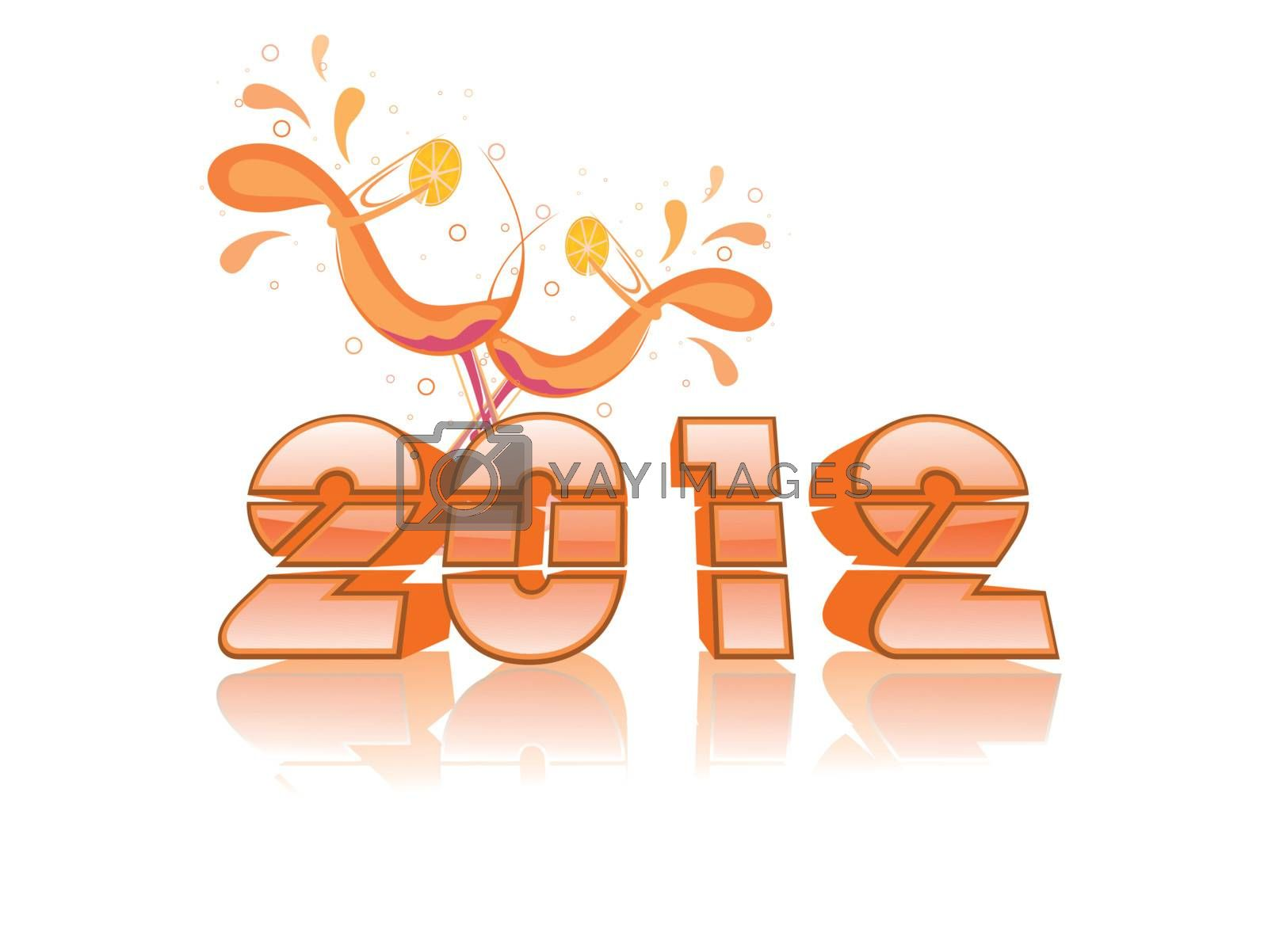 white background with glossy 2012 text with cocktail glass for new year celebration