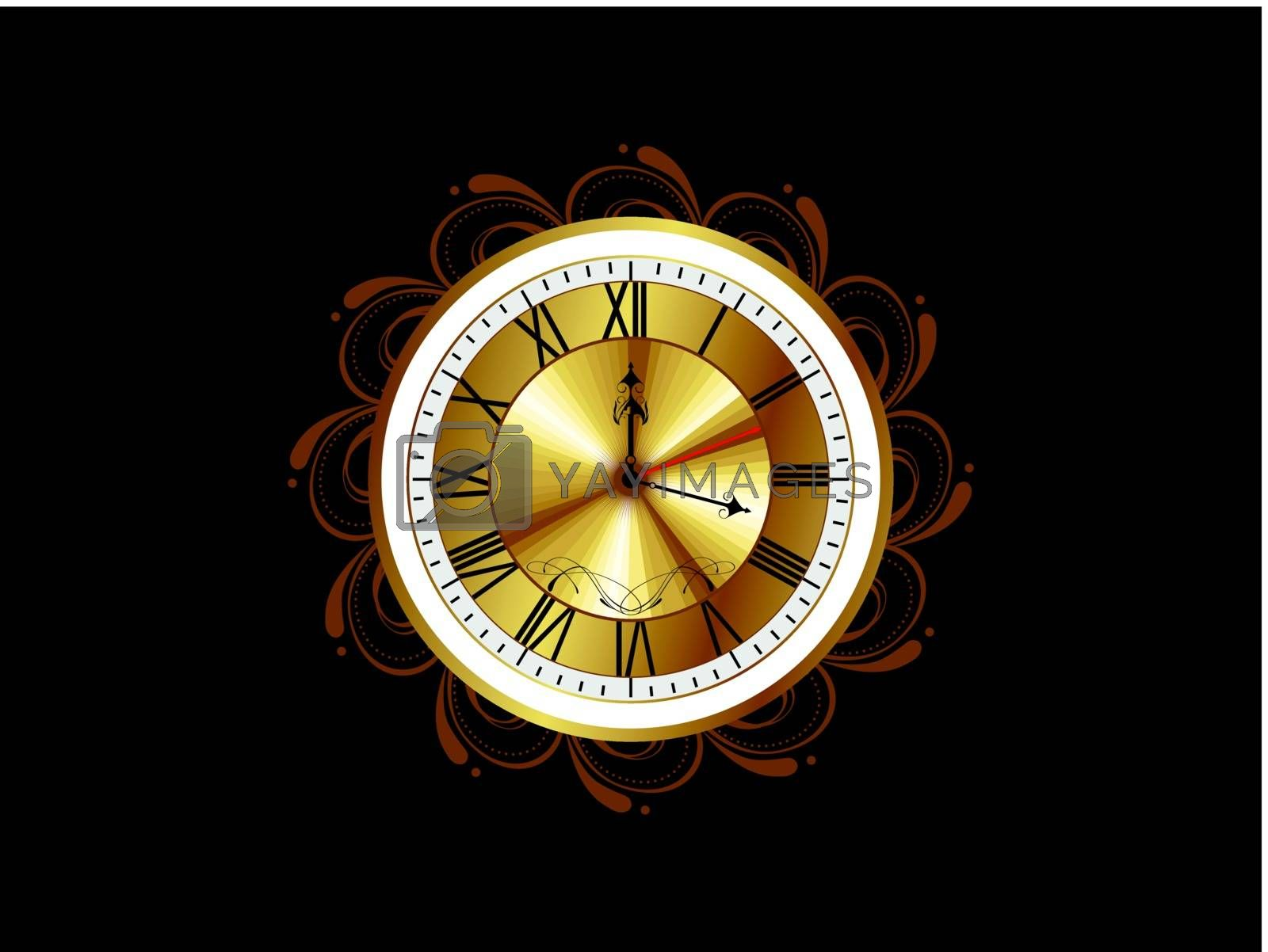 black seamless floral pattern background with isolated artistic watch vector for 2012