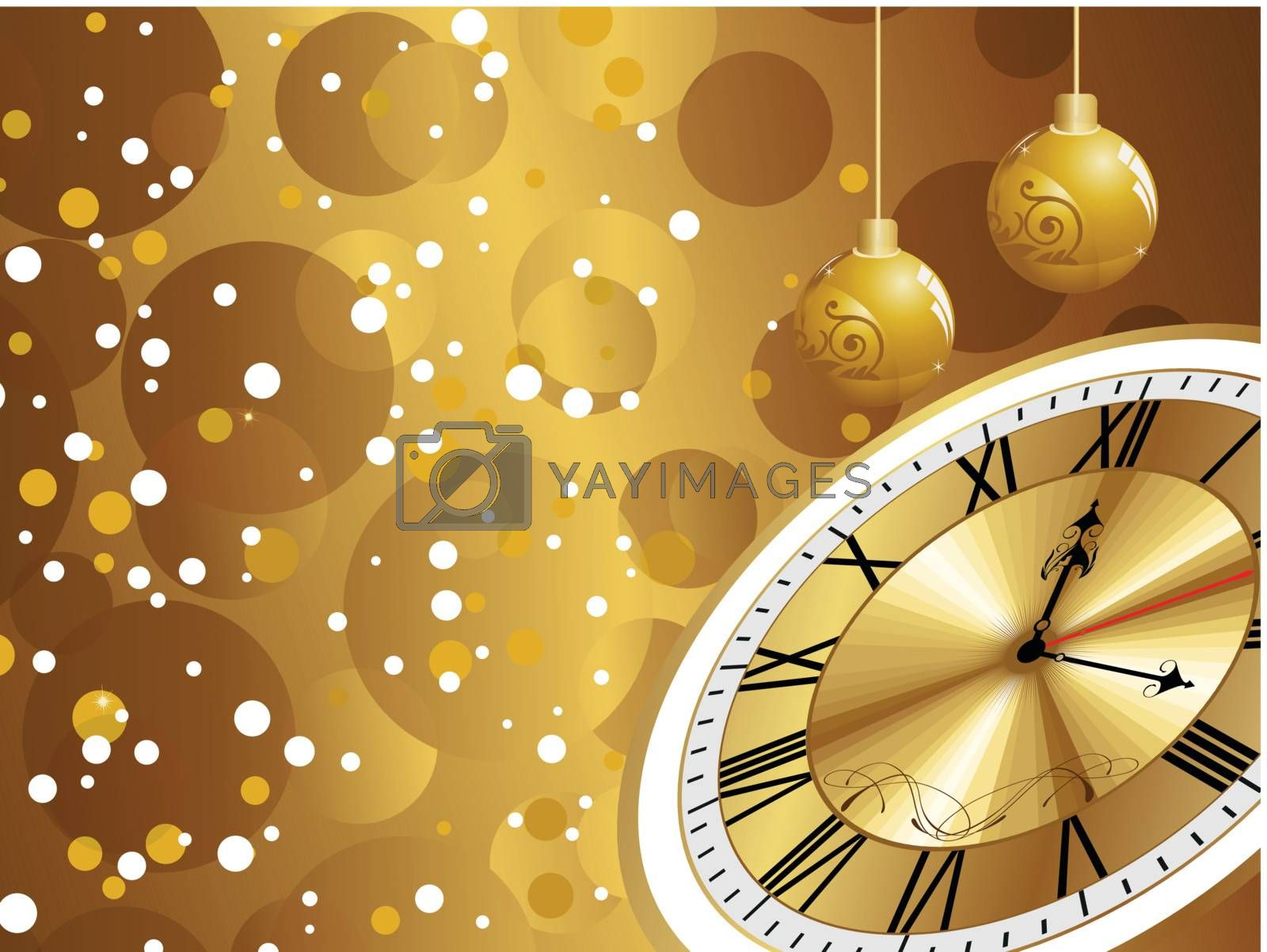 abstract bubbles background with hanging balls, golden watch