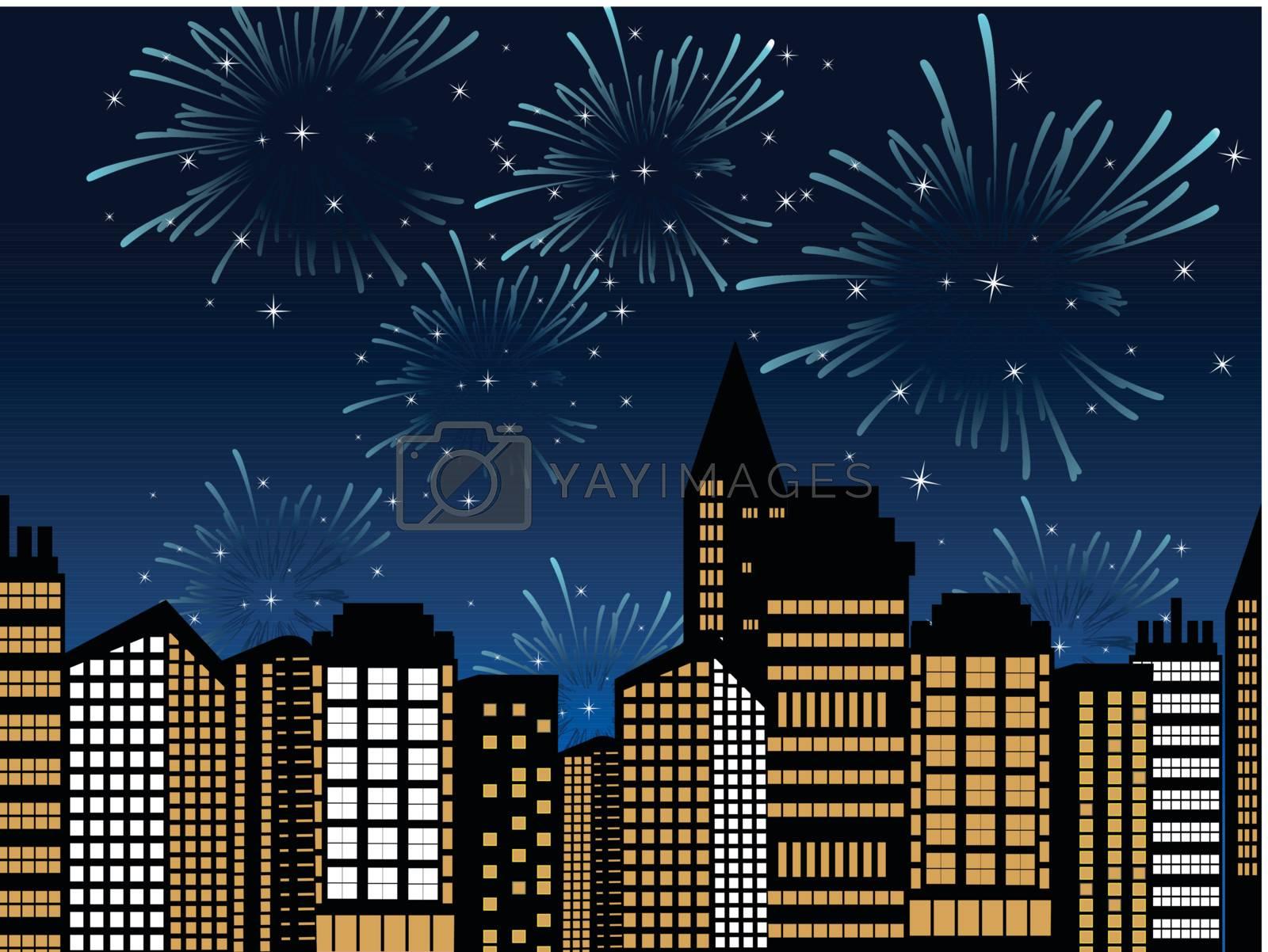 cityscape fireworks vector for event celebration