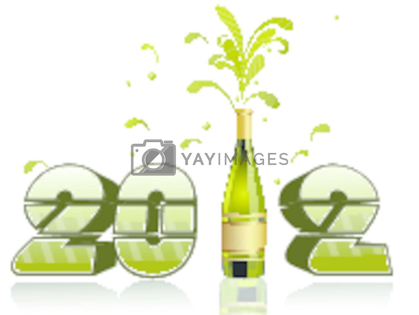 vector champagne bottle explosion 2012