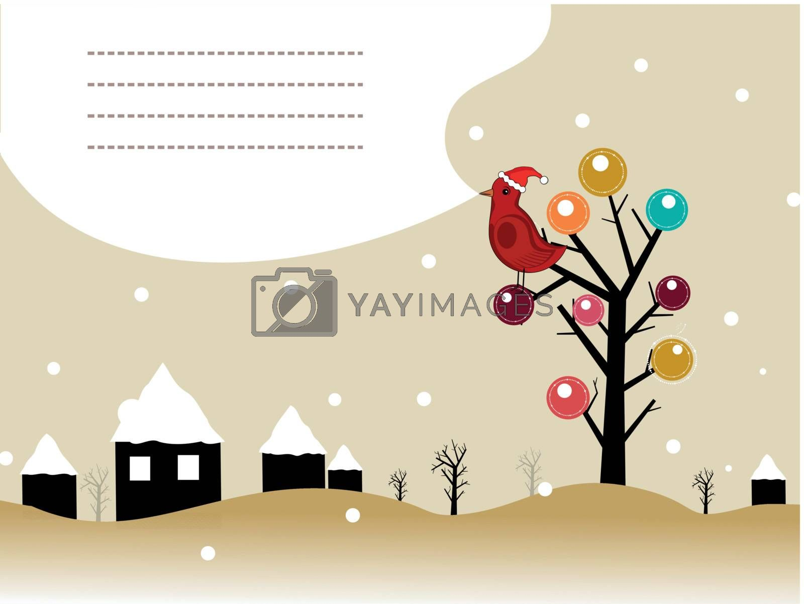 landscape background with bird sitting on artistic tree, house cover with snow