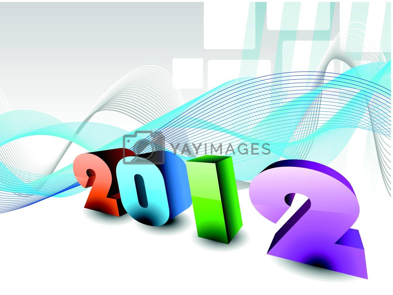 abstract design effect, wave background with 3d 2012 happy new year text