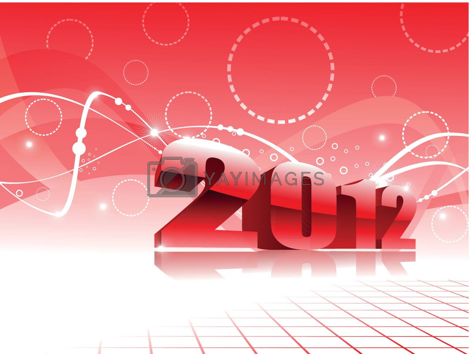 abstract red stripes, circle concept background vectorfor happy new year 2012