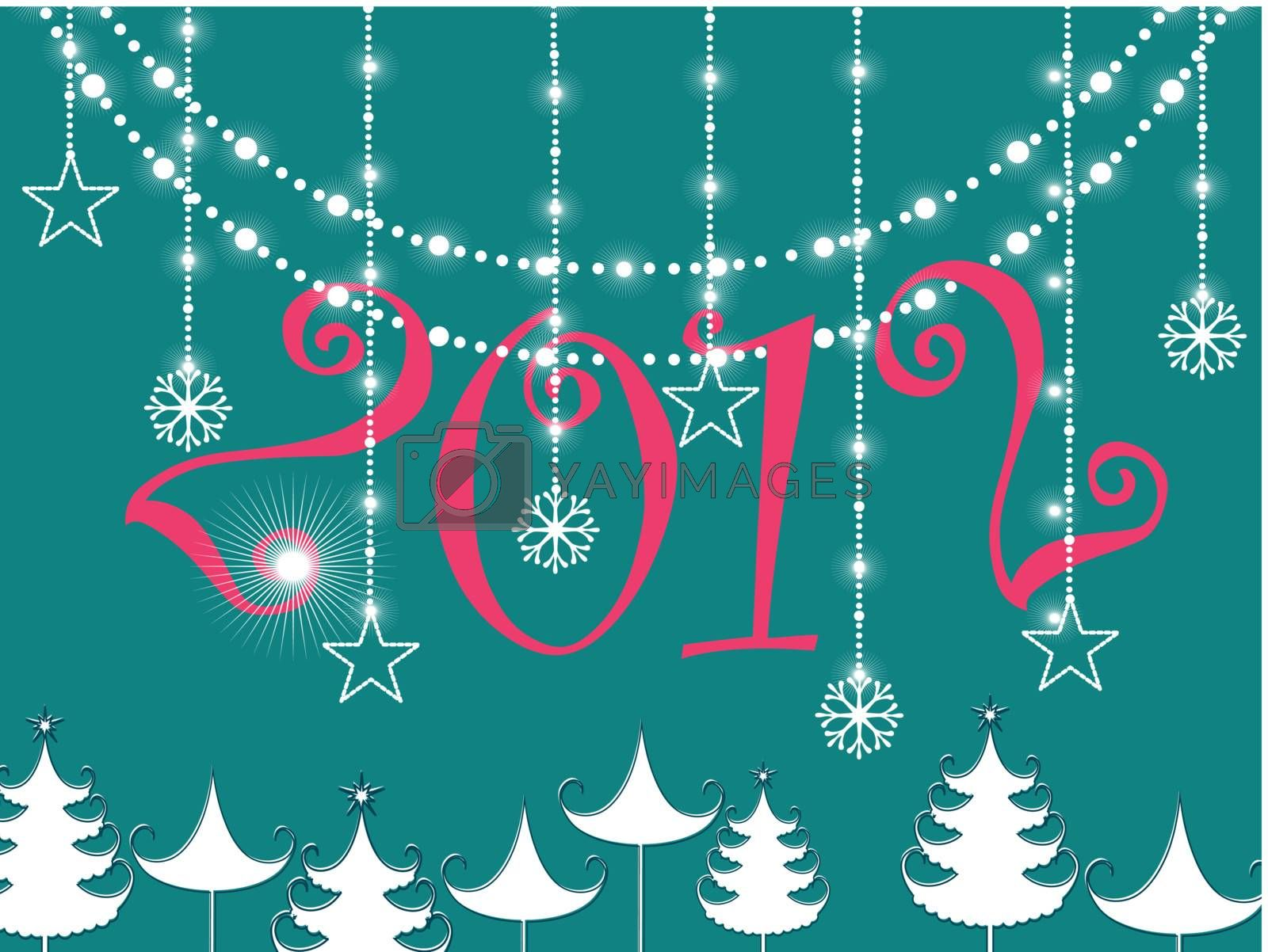 hanging flower & twinkle stars, cristmas tree  on green background with pink 2012 text