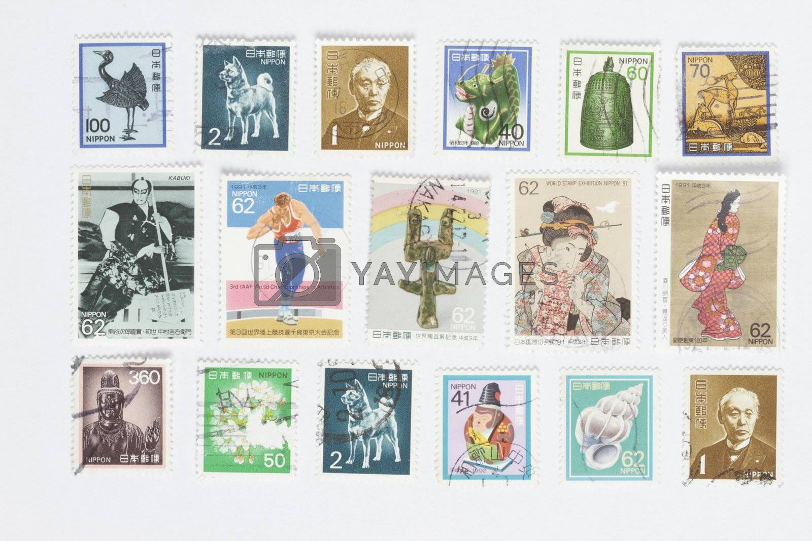 collection of blank post stamps in a white background