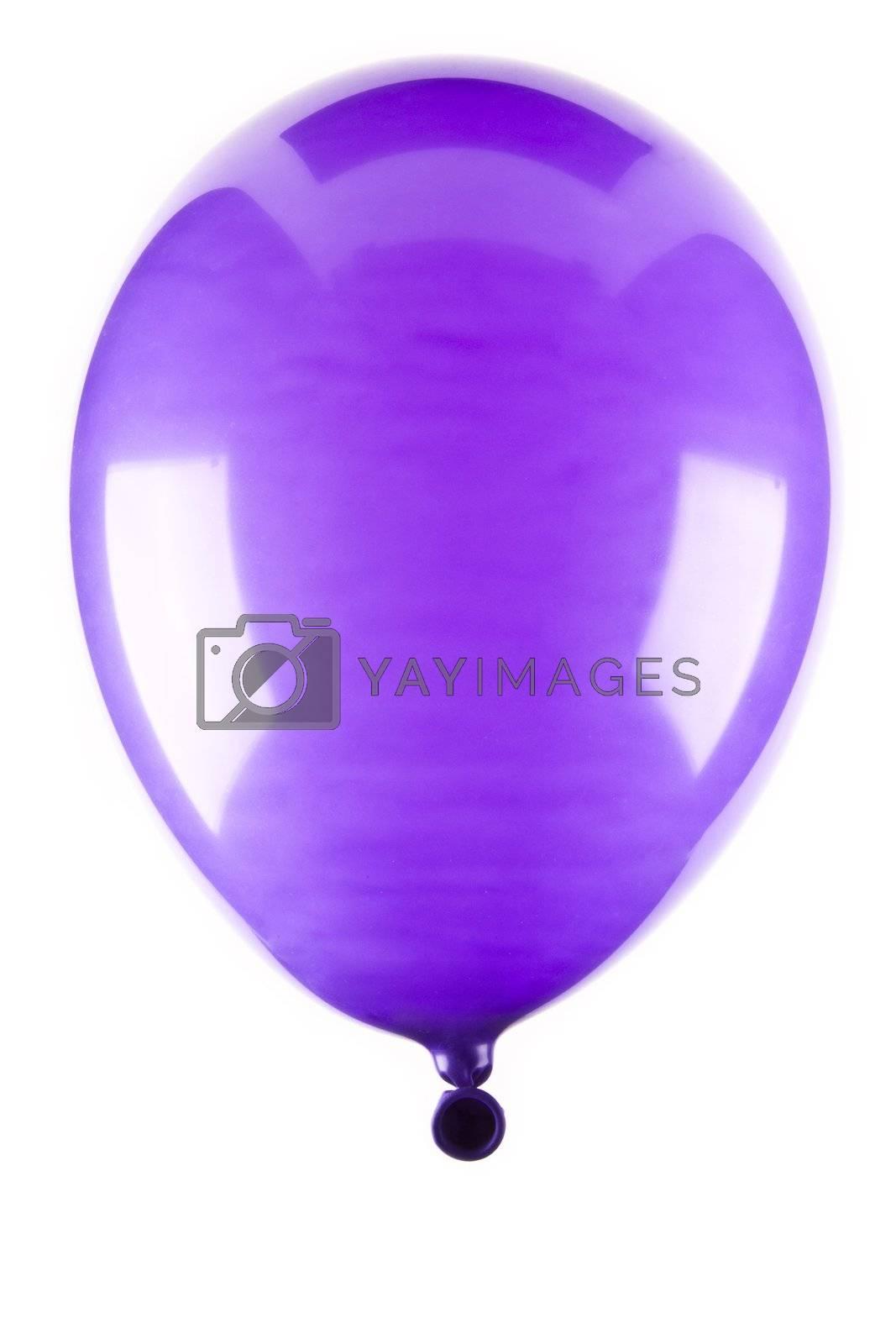 Vibrant purple balloon isolated on white background