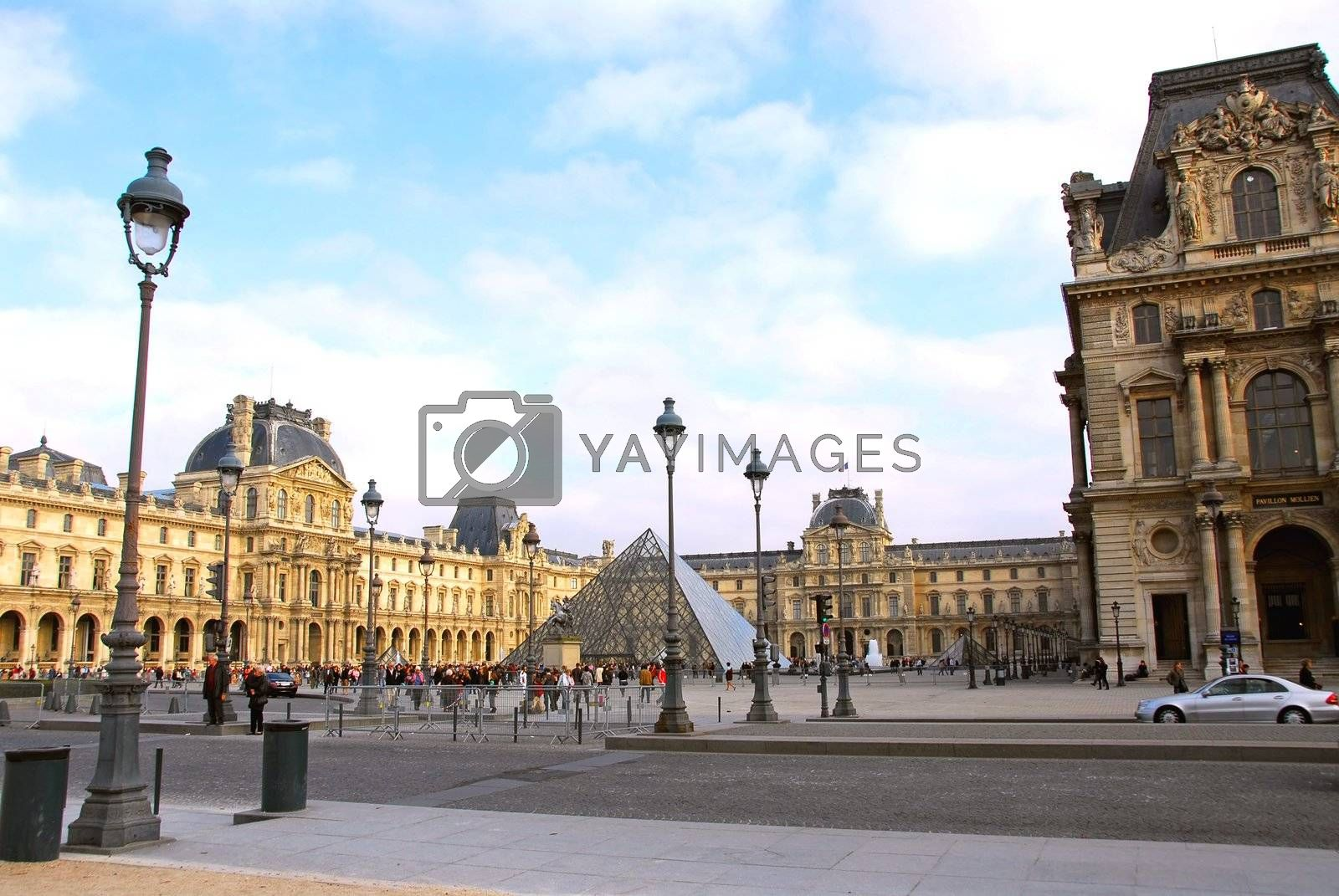 Square of Louvre building in Paris France