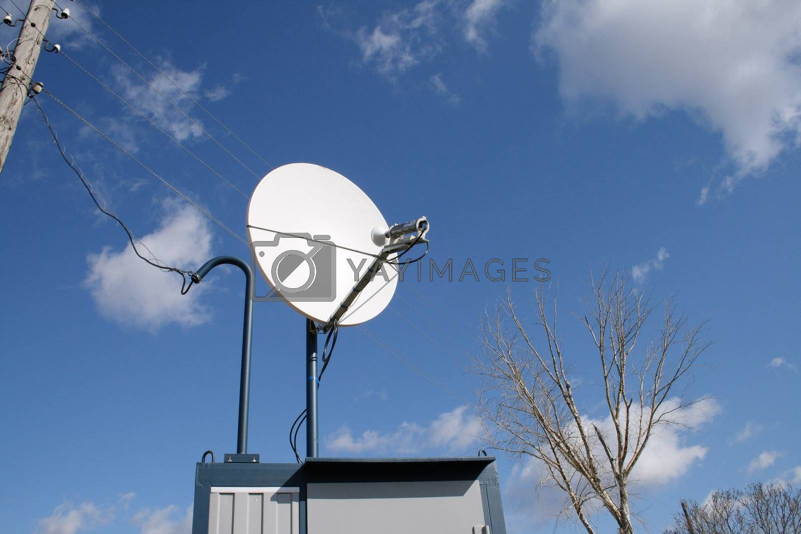 Dish antenna in Russian village