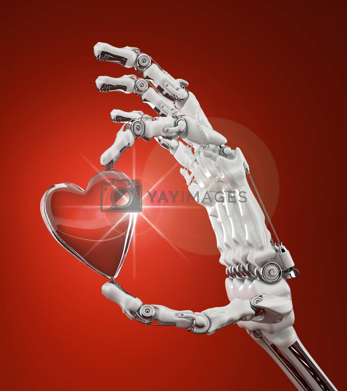 Robotic arm gently holding a glass heart