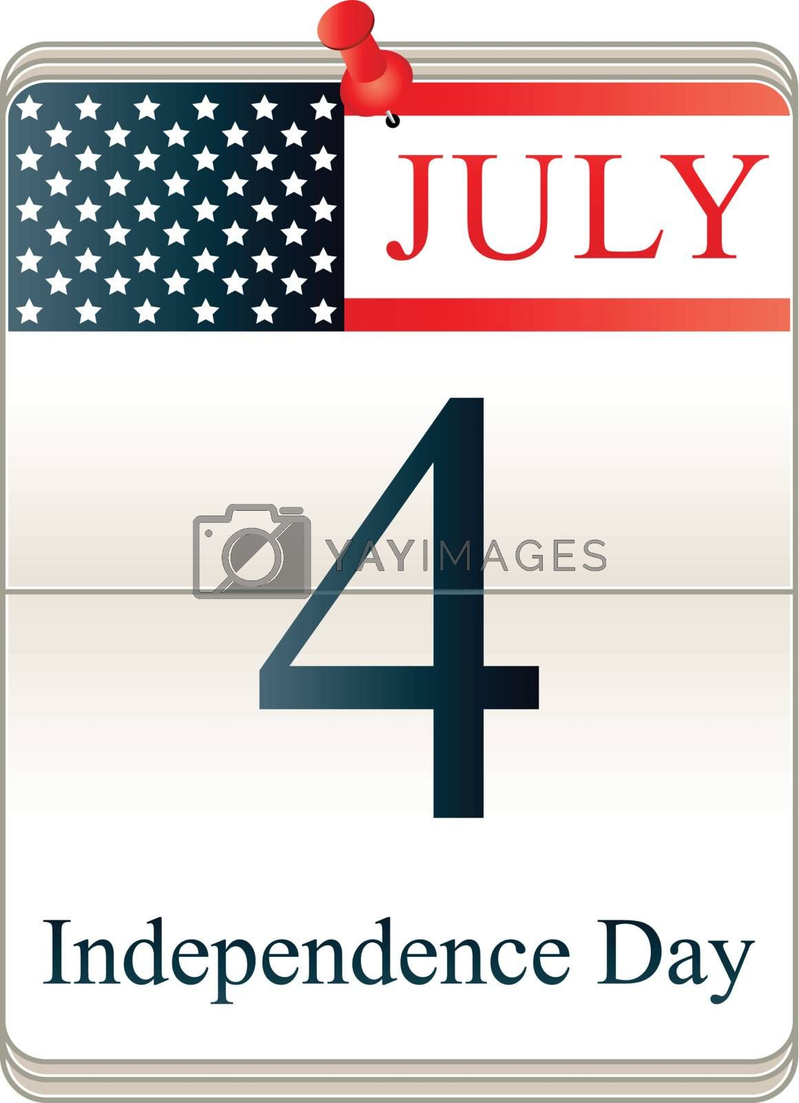 Vector of Calendar for 4th July with American flag