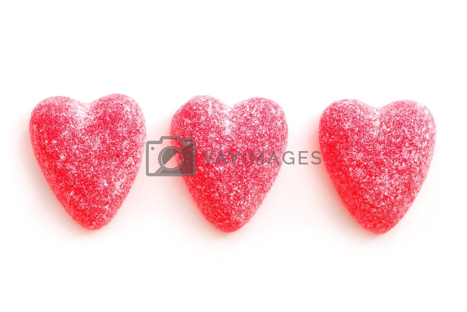 Sugar candy Valentine's hearts isolated on white background