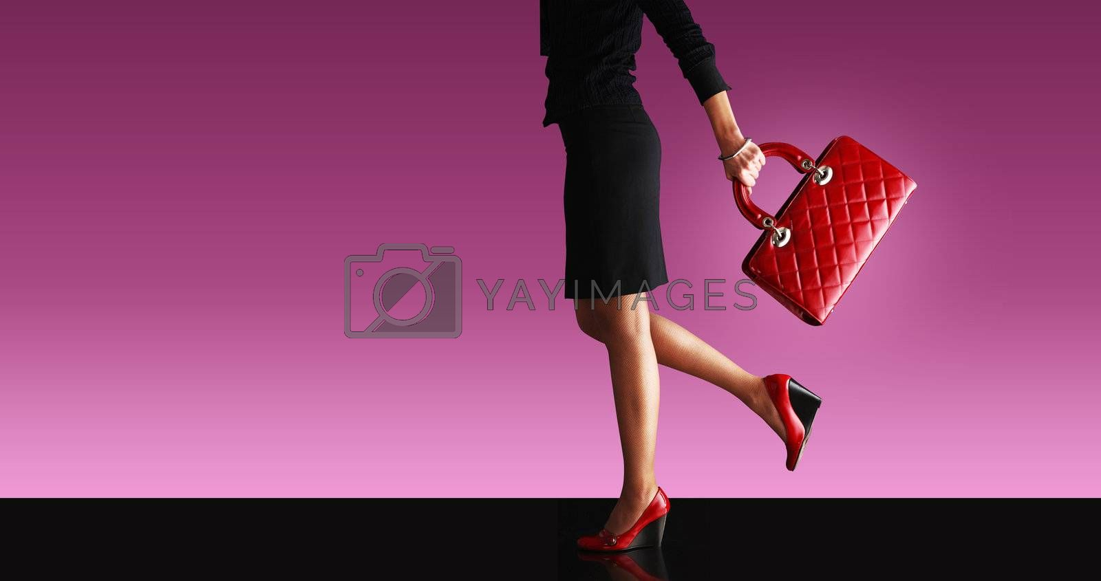 sexy woman, walking with red bag