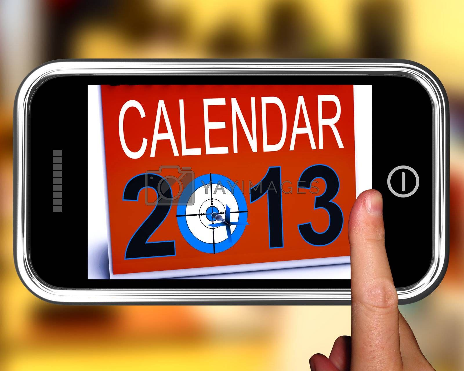 Calendar 2013 On Smartphone Showing Future Resolutions And Festivities