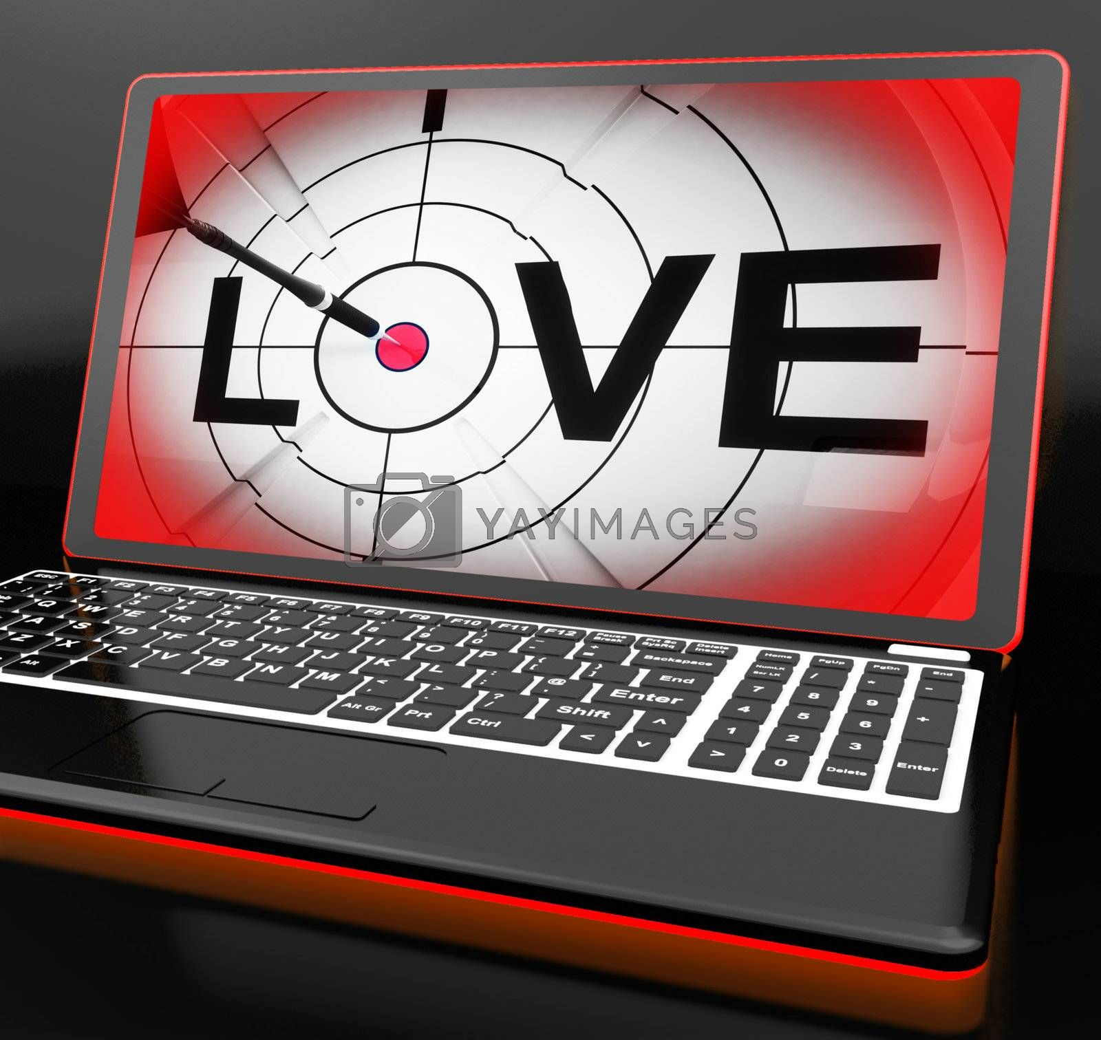 Love On Laptop Shows Romance And Romantic Feelings