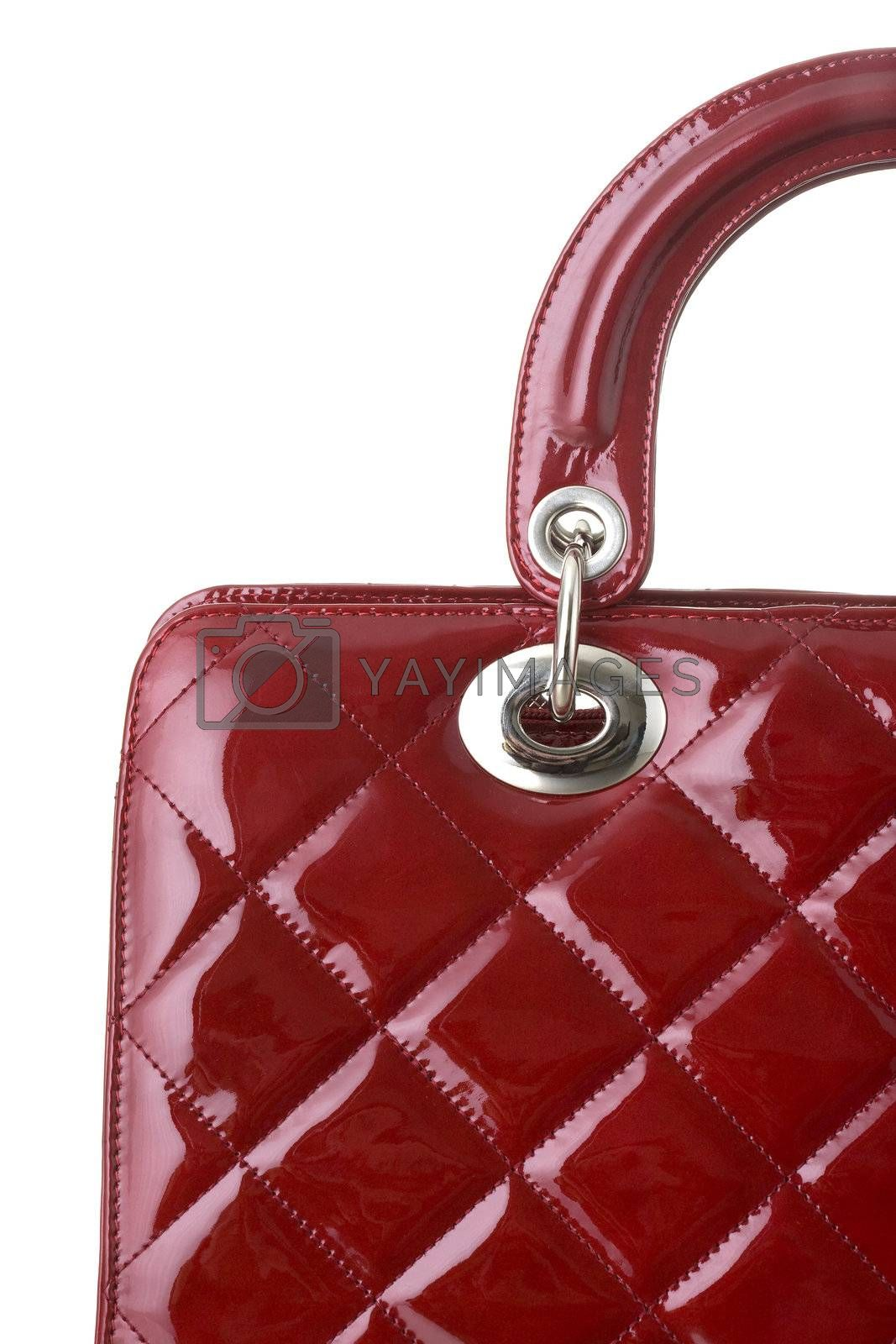 red ladies handbag isolated on  white background