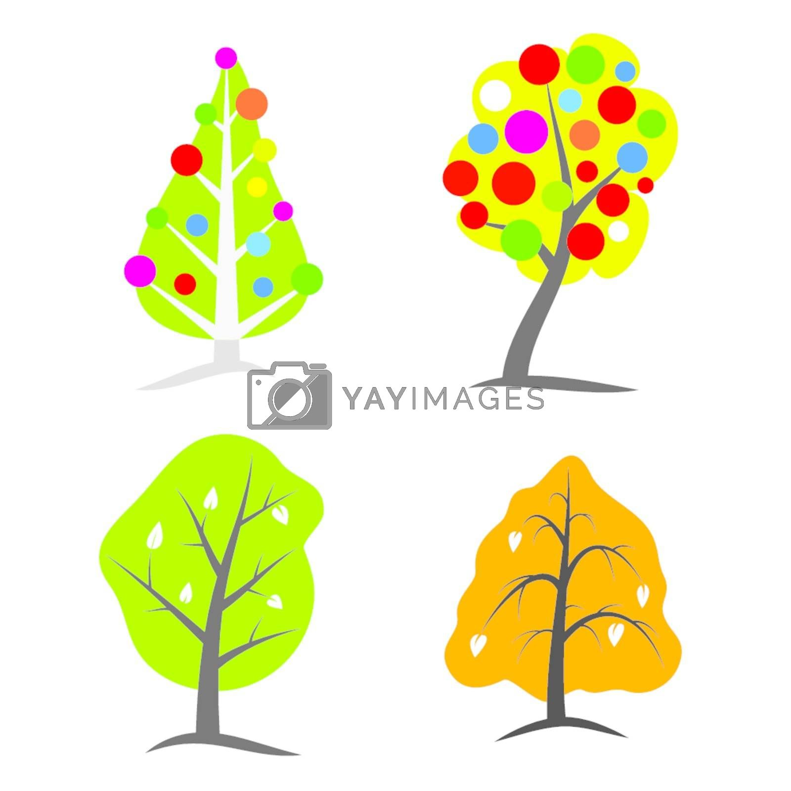 four seasons tree symbols illustration