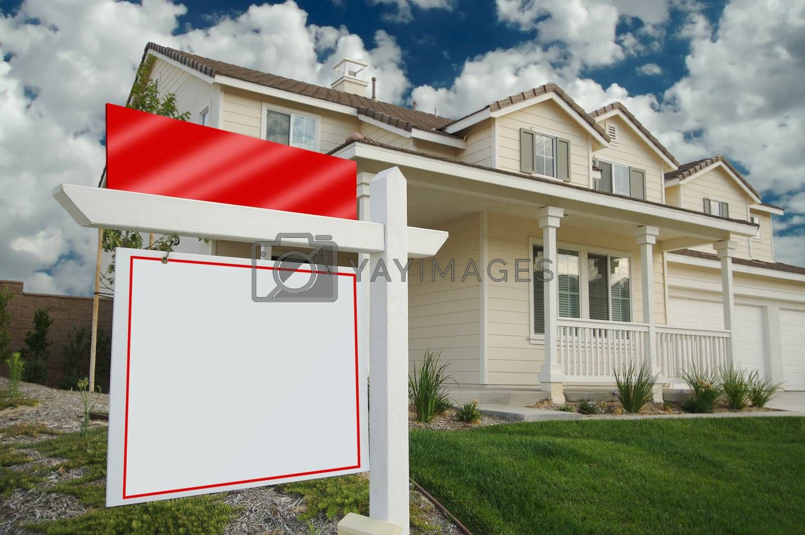 Blank Real Estate Sign & New Home by Feverpitched