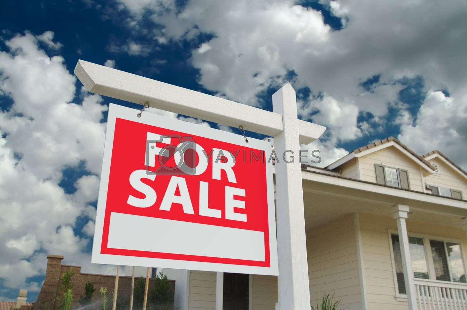 Home For Sale Sign in Front of New House