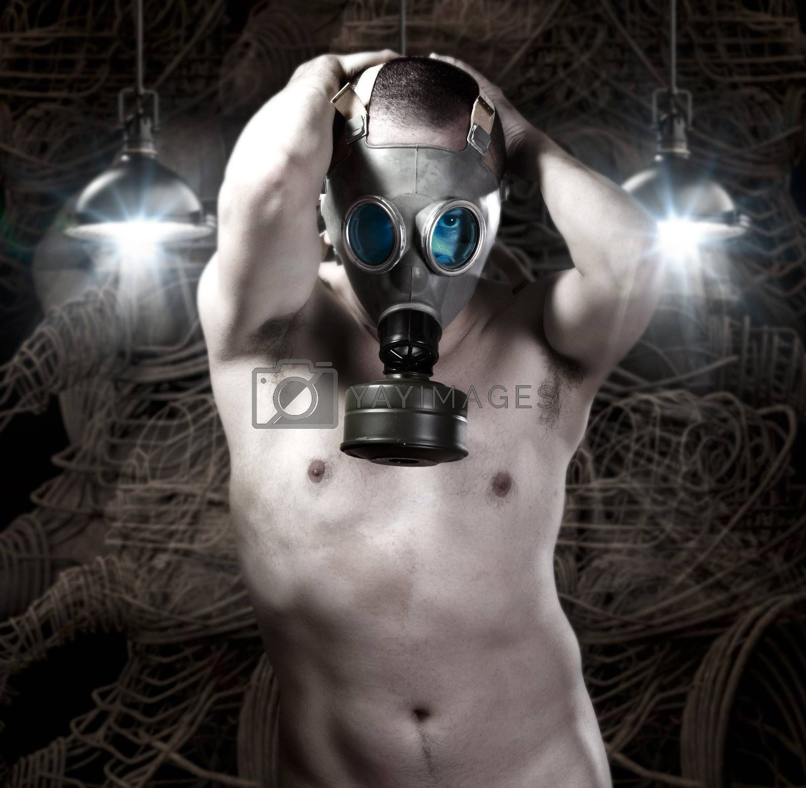 Naked Man with gas mask on background of robots and technology