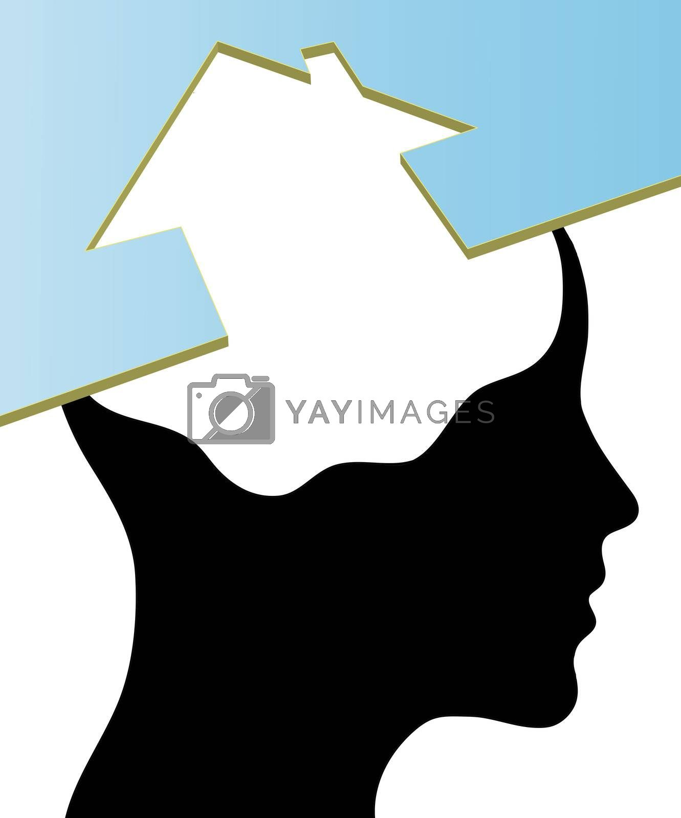 A concept for Dream Home, where Thinking head silhouette is shown