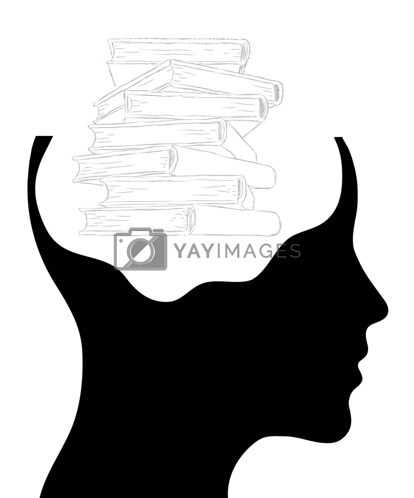 Male head silhouette with stack of books - education