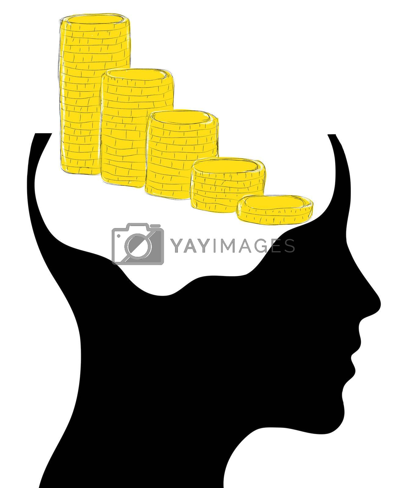 head with business idea